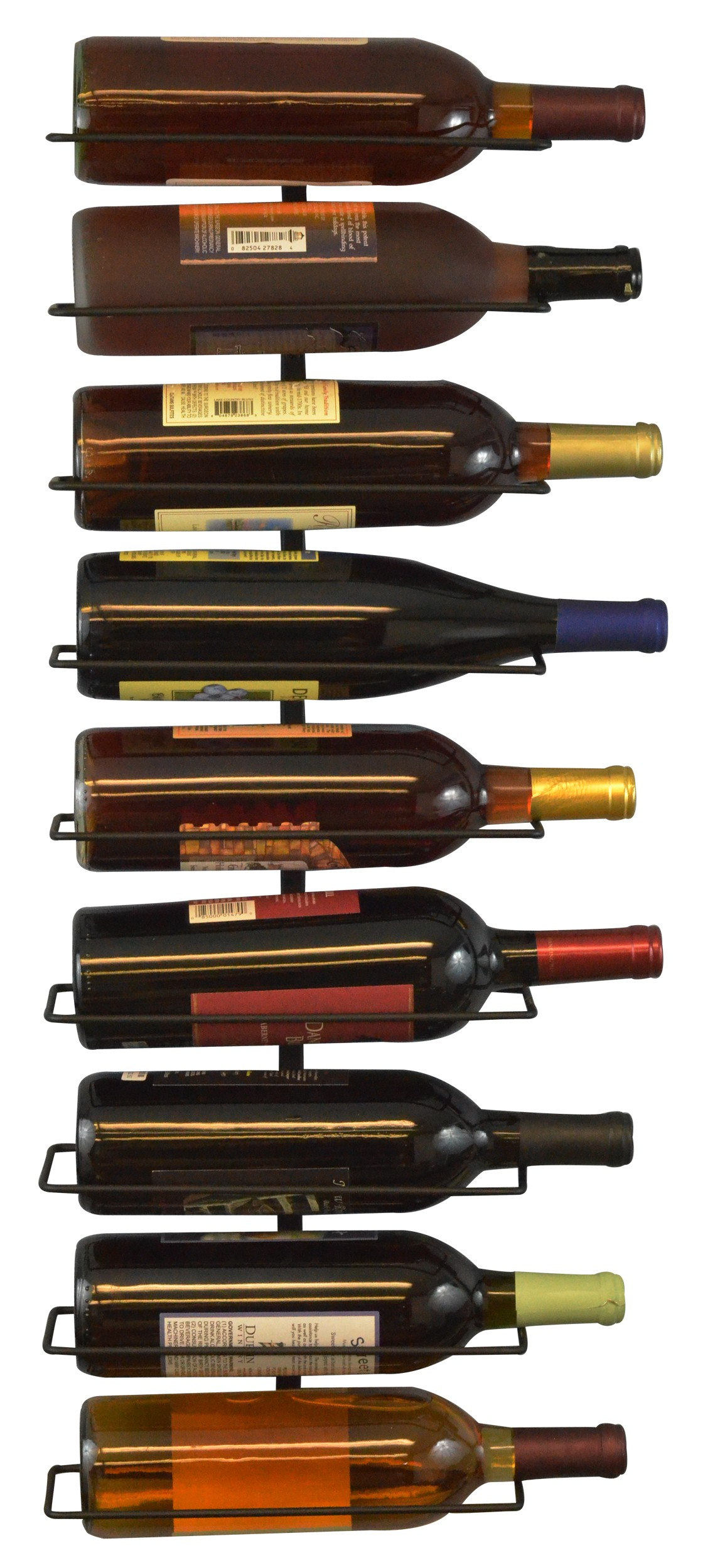 Wall Mount Wine Bottle Rack, Holds Up To 9 Bottles