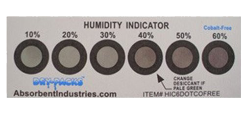 Cobalt Free Humidity Indicator Card - 6 Dot 10% - 60%