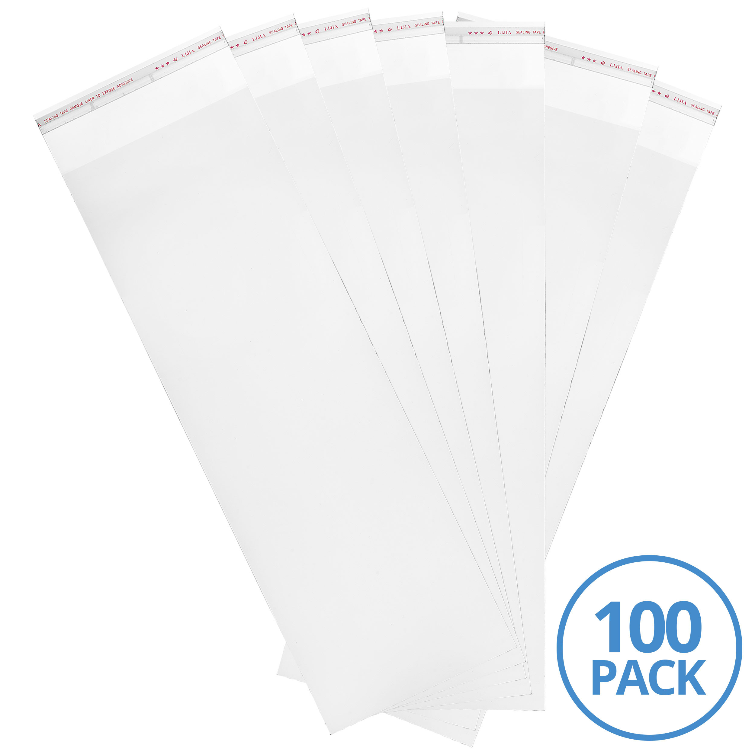 "Absorbent Industries 3 Mil Adhesive Top Clear Nylon Bag (100 Pack), 6"" x 18"", Clear"