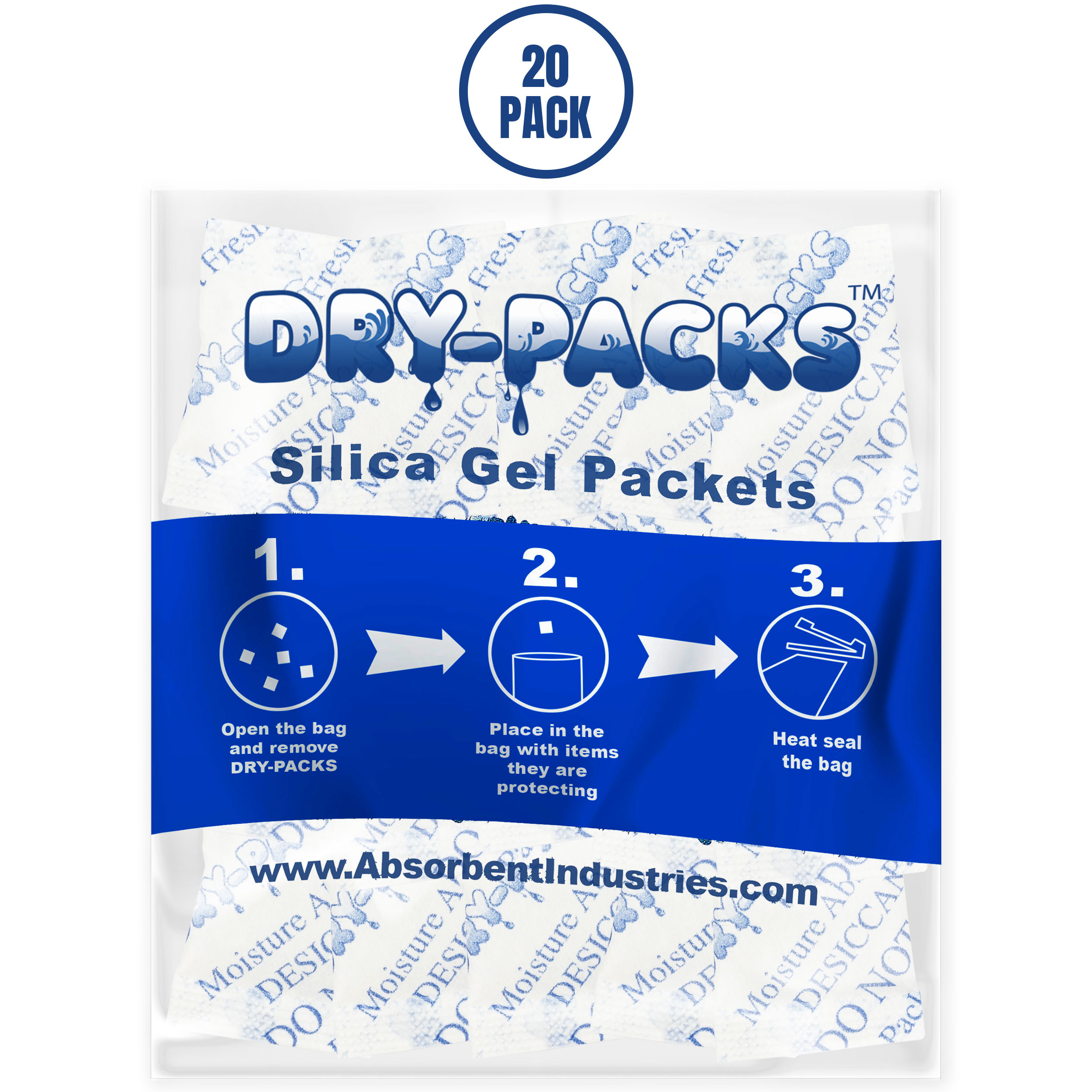 Dry-Packs Industries Silica Gel in Cotton Dehumidifier Absorbs Moisture 1/2 Gram 20PK, 20-Pack
