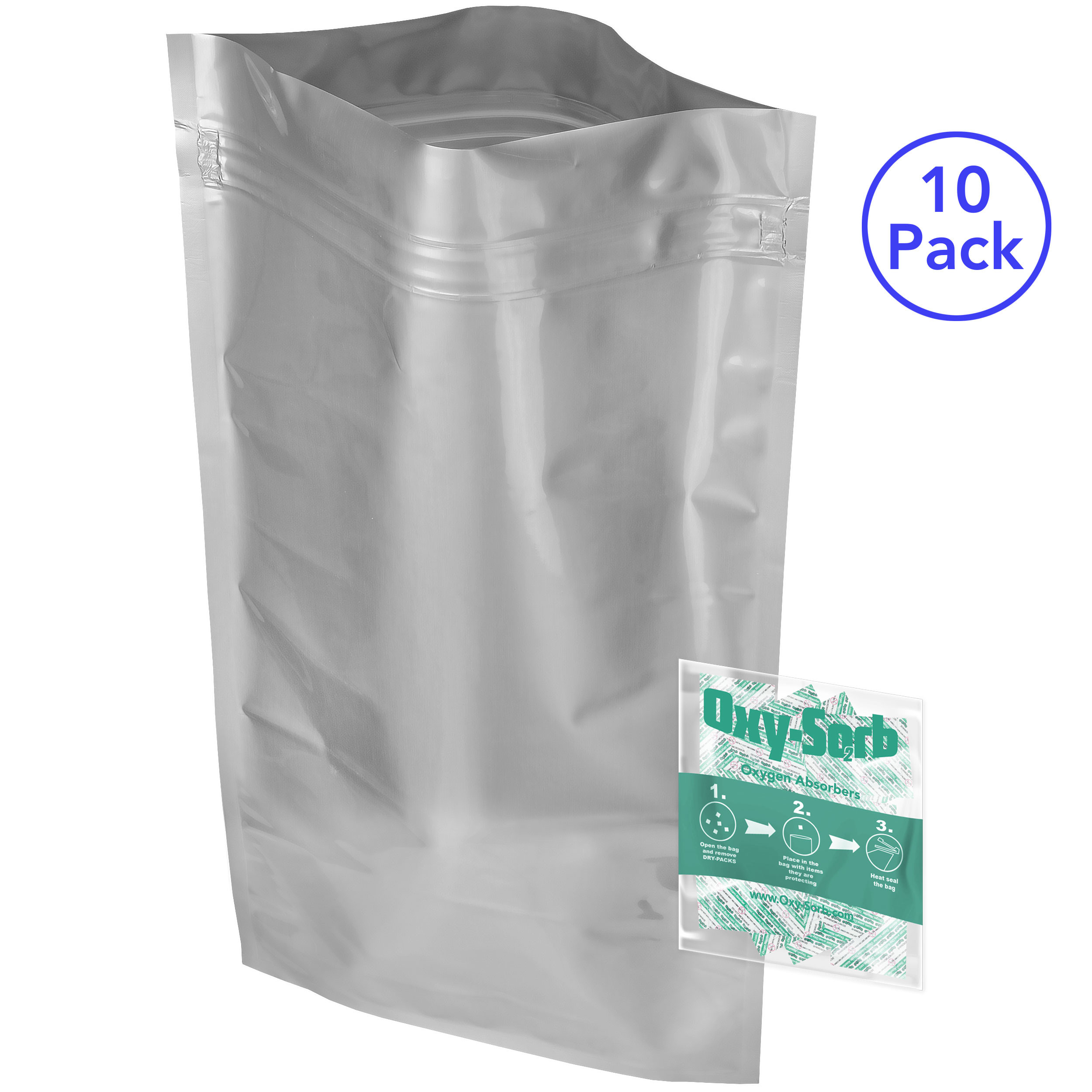 "10 - Mylar Zipper 5 Gallon Bags (20x30"") and 10 - 2000cc Oxygen Absorbers With Freshness Pill/Eye for Dried Dehydrated and Long Term Food Storage"