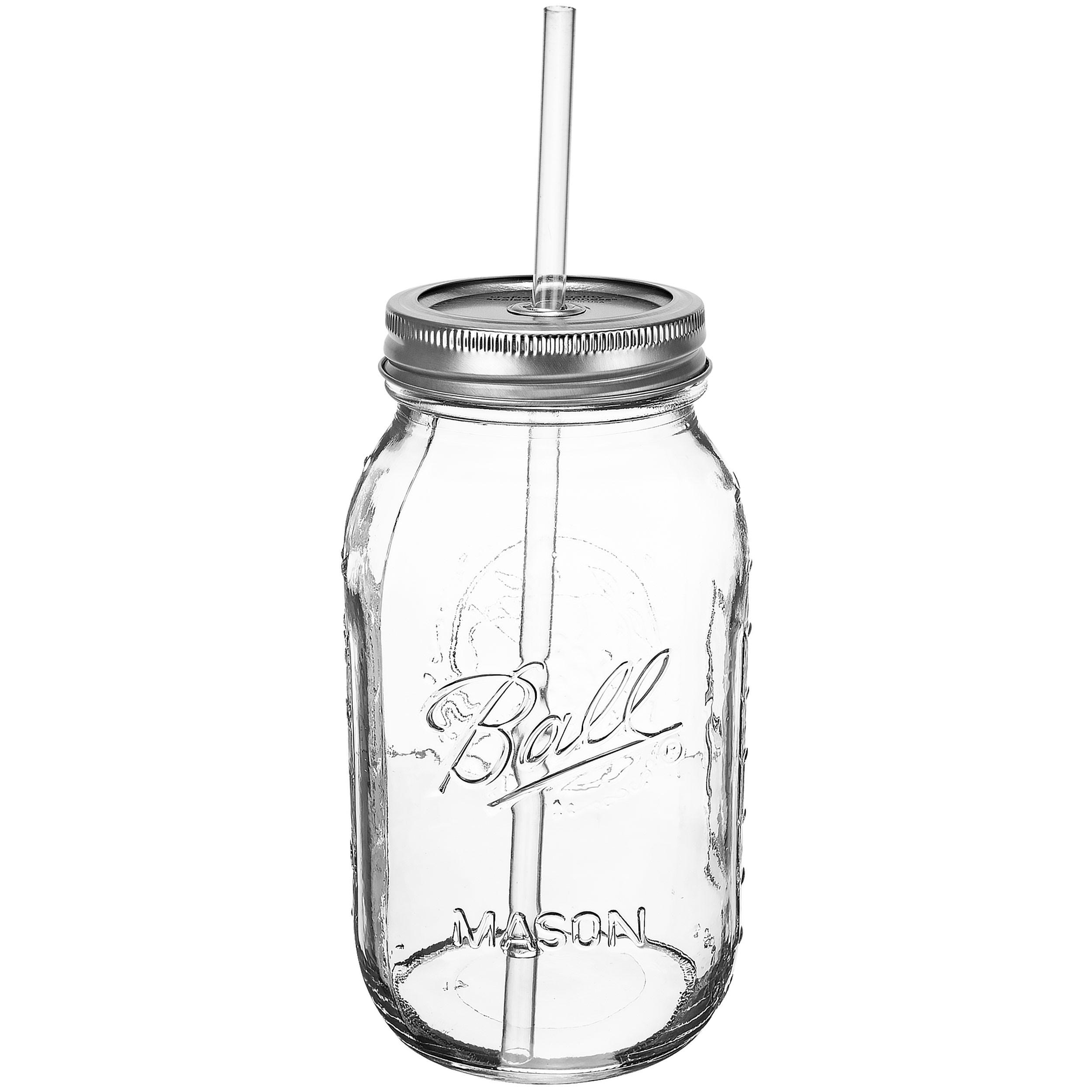 Redneck Guzzler Drinking Sipping Jar 32oz Mason Jar w/ Acrylic Reusable Straw