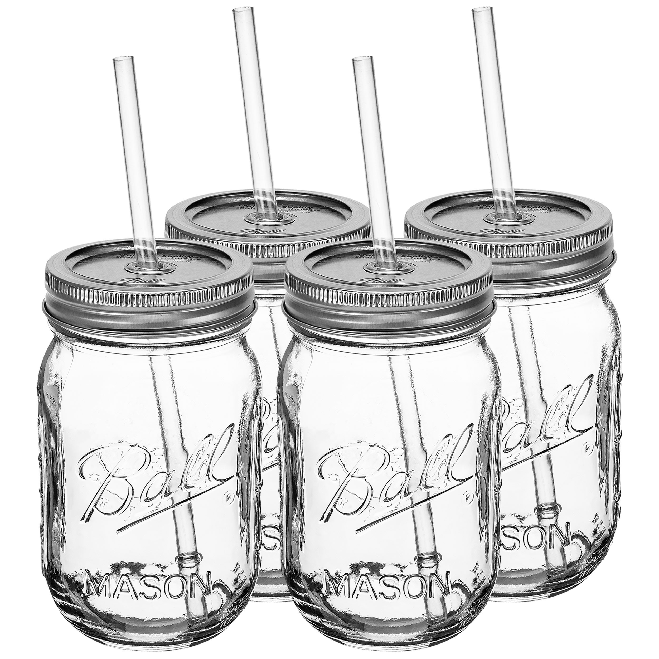 Redneck Sipper Drinking Jar 16oz Ball Mason Jar Reusable Acrylic Straw 4 Pack