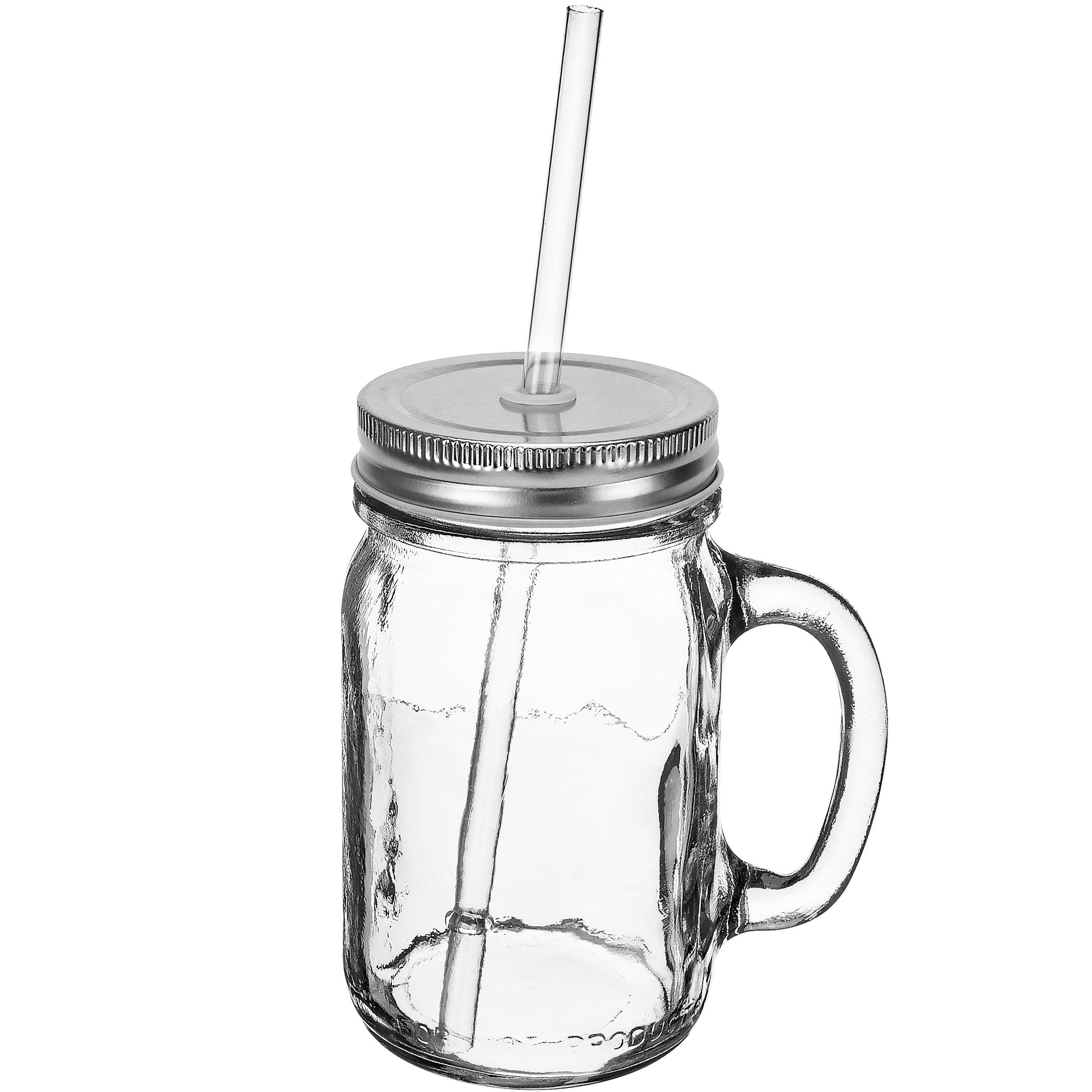 Redneck Sipper Drinking Jar w/ Handle 16oz Ball Mason Jar Reusable Acrylic Straw