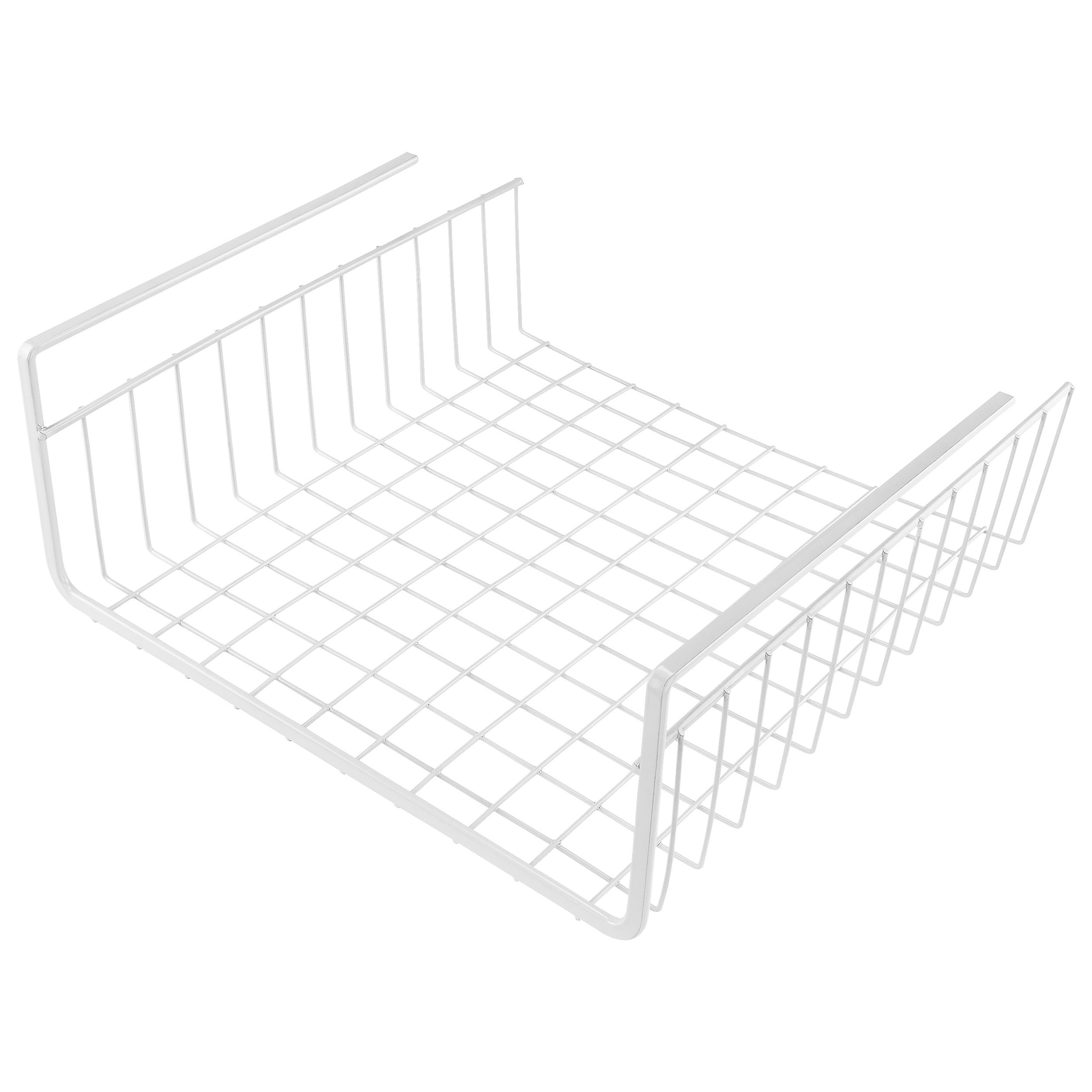 "Southern Homewares Under Shelf Basket Wire Wrap Rack White Storage Organizer for Kitchen Pantry, 12 1/2"" x 12 1/2"" x 5"""