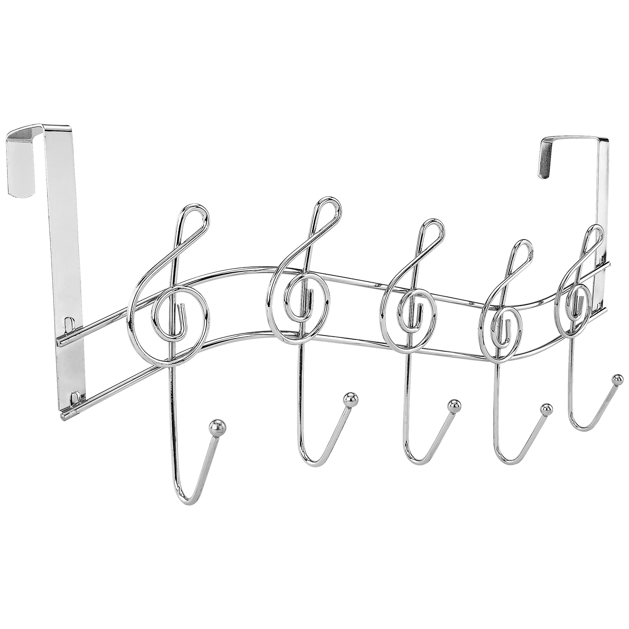 Southern Homewares Music Note Treble Clef Shape Over The Door Metal Rack, 5 Hanger Hooks Chrome Plated