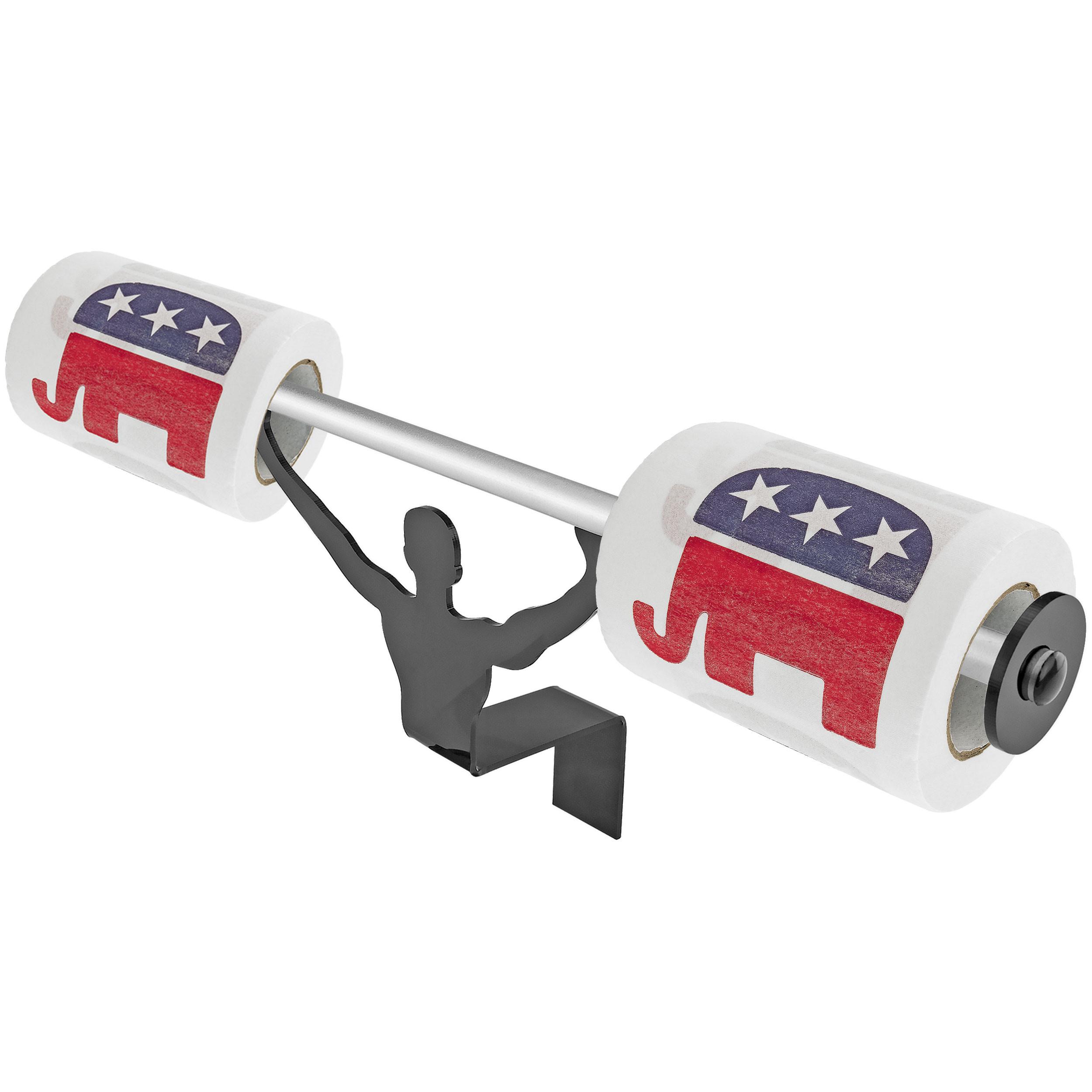 Fairly Odd Novelties Republican Party Logo Toilet Paper W/Strong Man Holder Gift Set