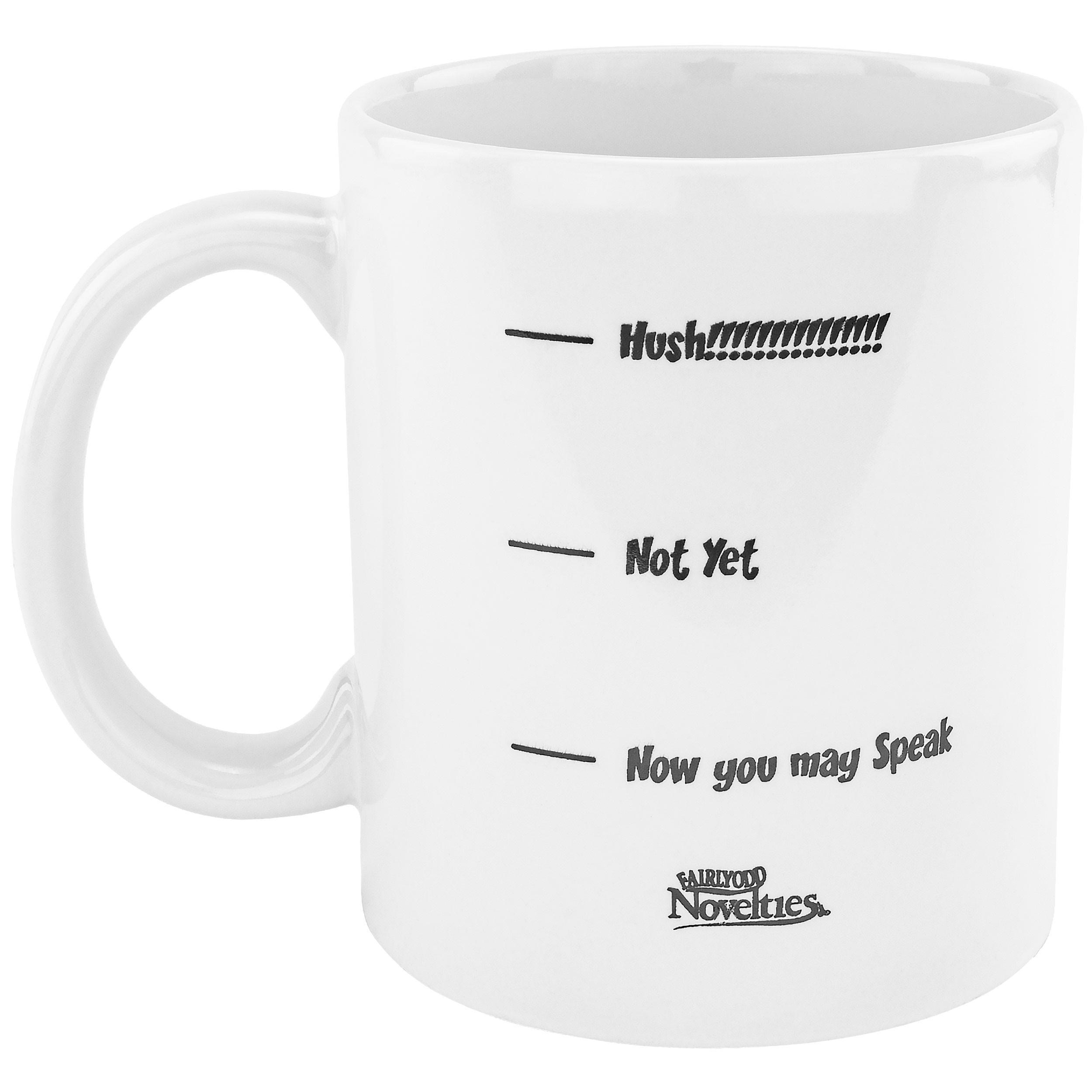 Fairly Odd Novelties FON-20032-001-001 Hush Funny Coffee Mug, White, 11 ounce