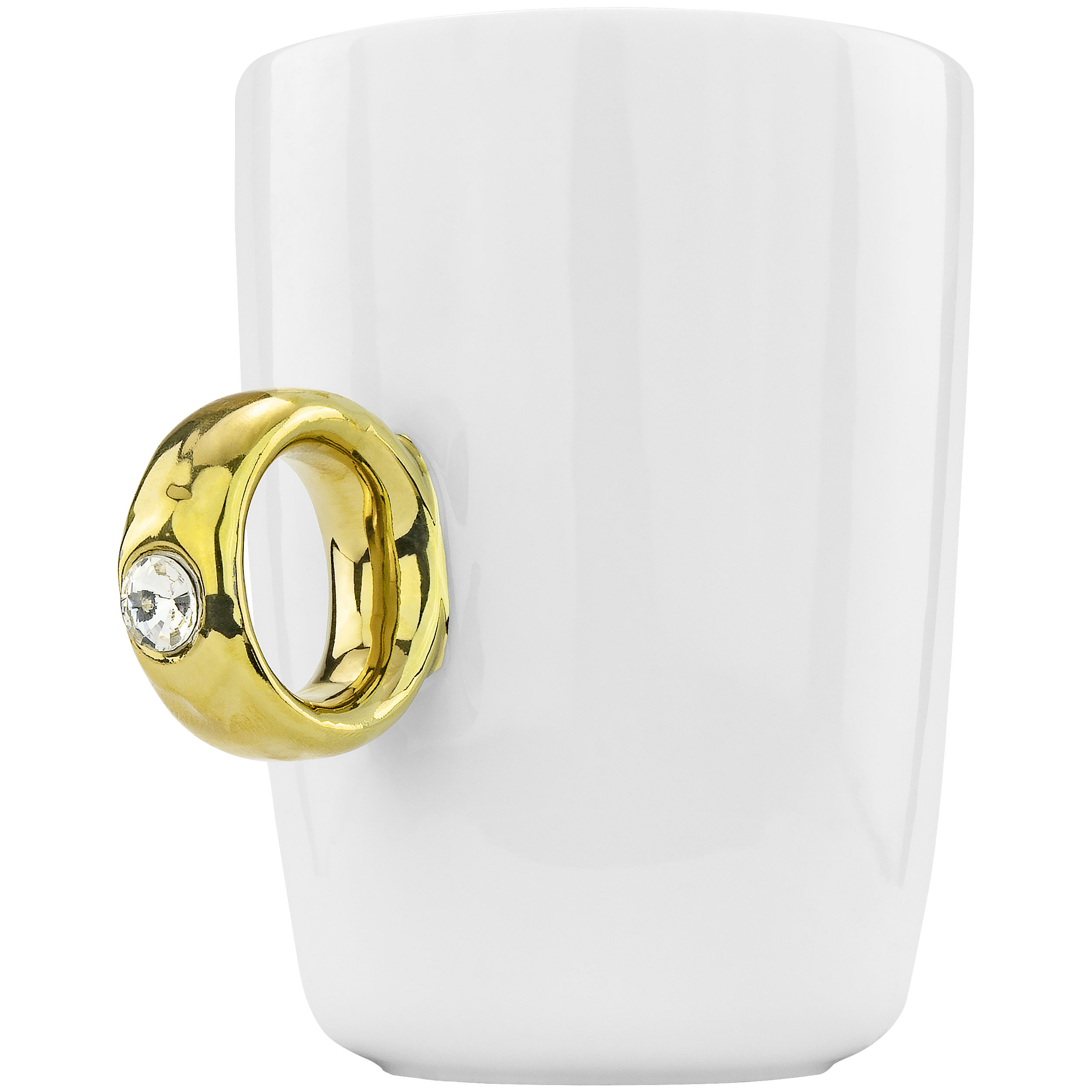 Fairly Odd Novelties Engagement 2 Carat Solitaire Ring Novelty Gag Gift Mug, Gold