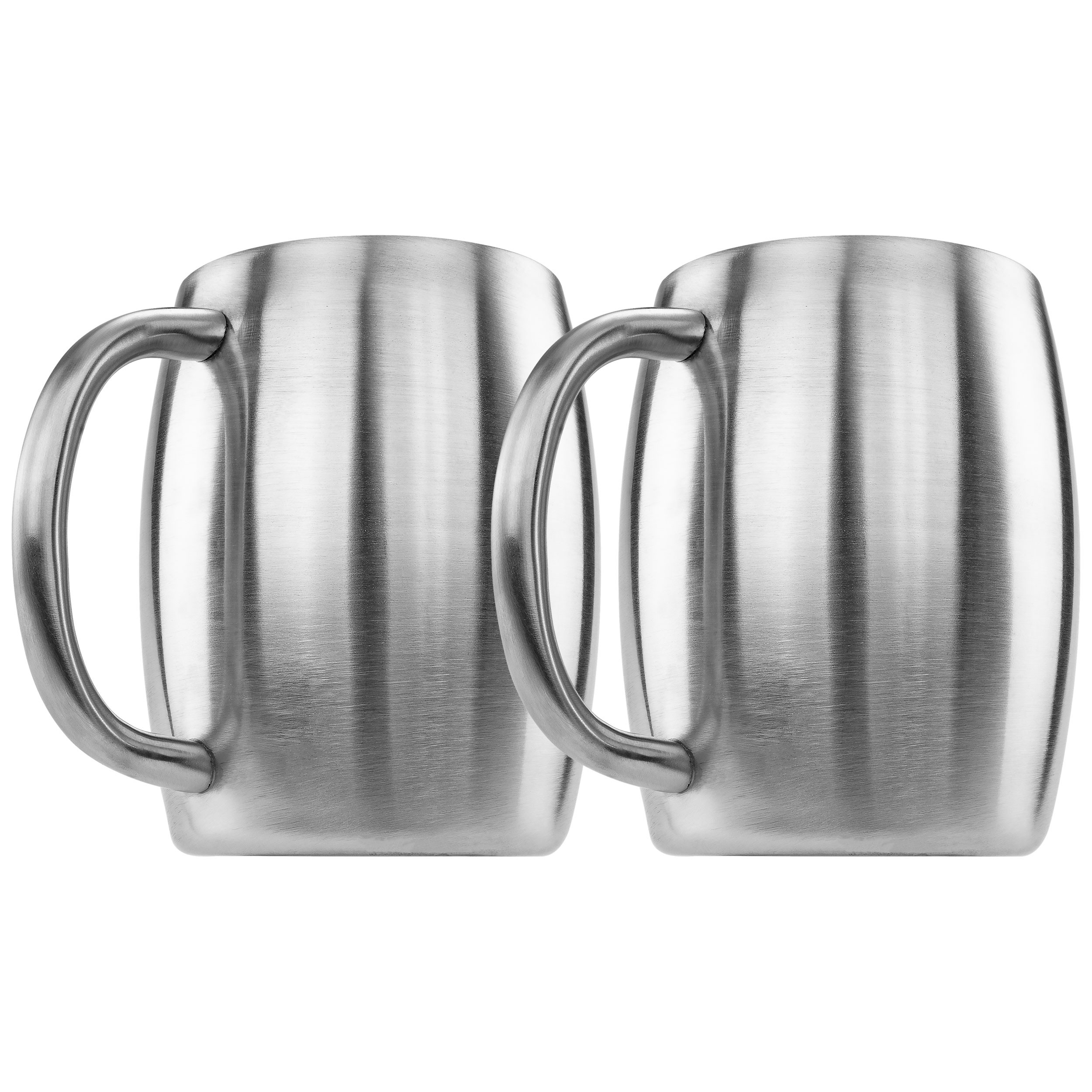 Southern Homewares Stainless Double Wall Steel Beer Coffee Desk Mug Smooth 14-Ounce Set of 2
