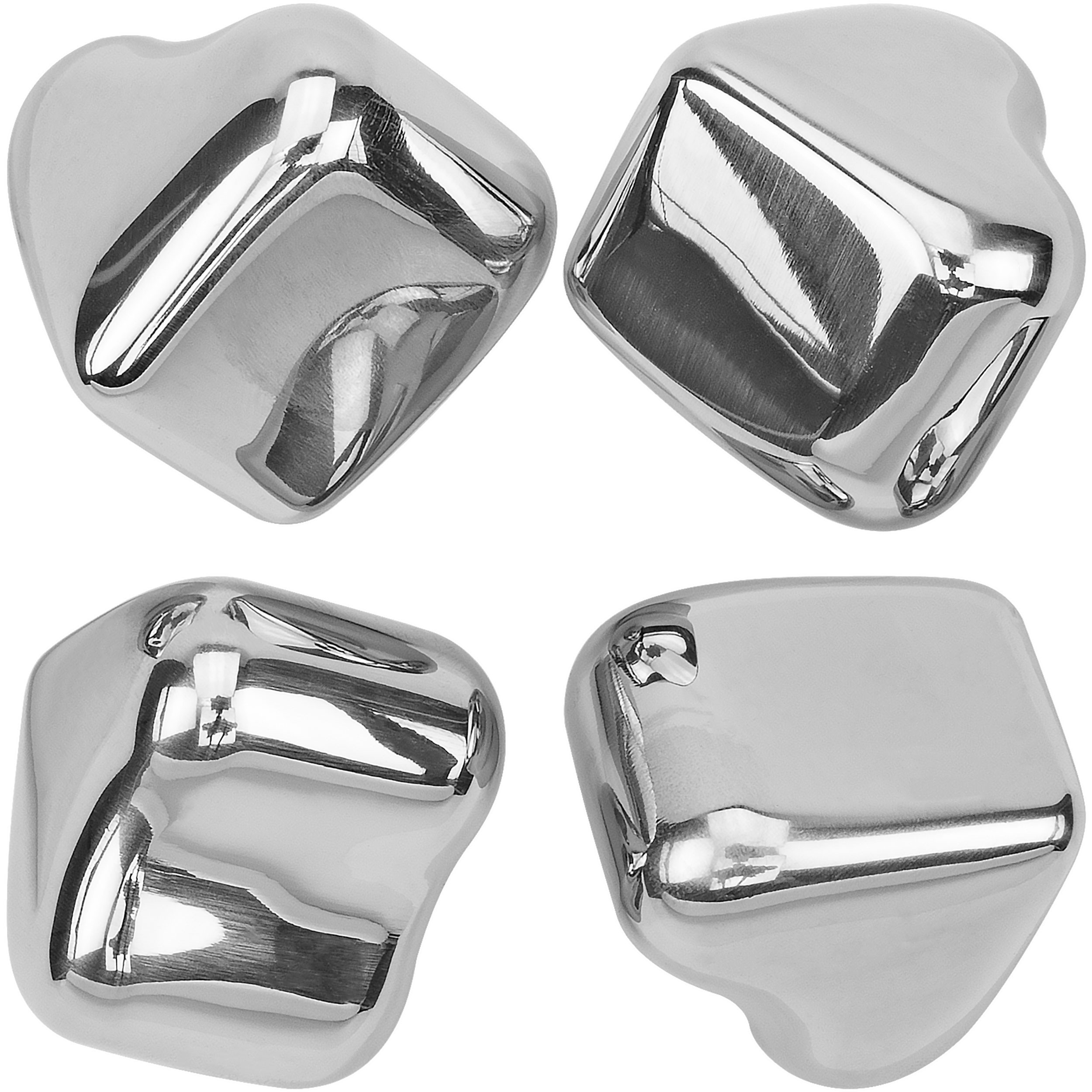 Southern Homewares Heart Shape Stainless Steel Chilling Ice Cubes Reusable Tray (Set of 4), Silver