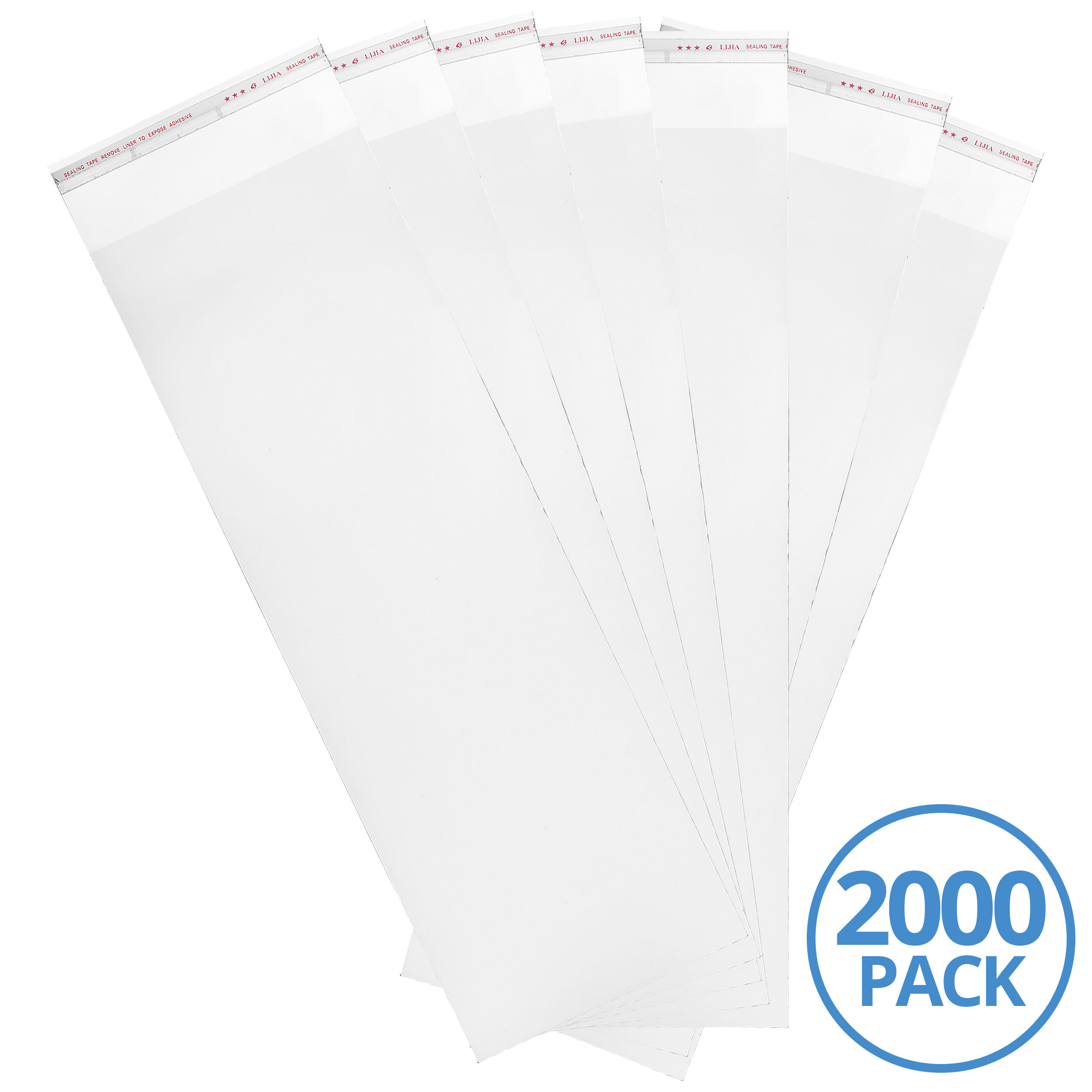 "6x18"" 3MIL Adhesive Top Clear Nylon Bag, 2000 Pack"