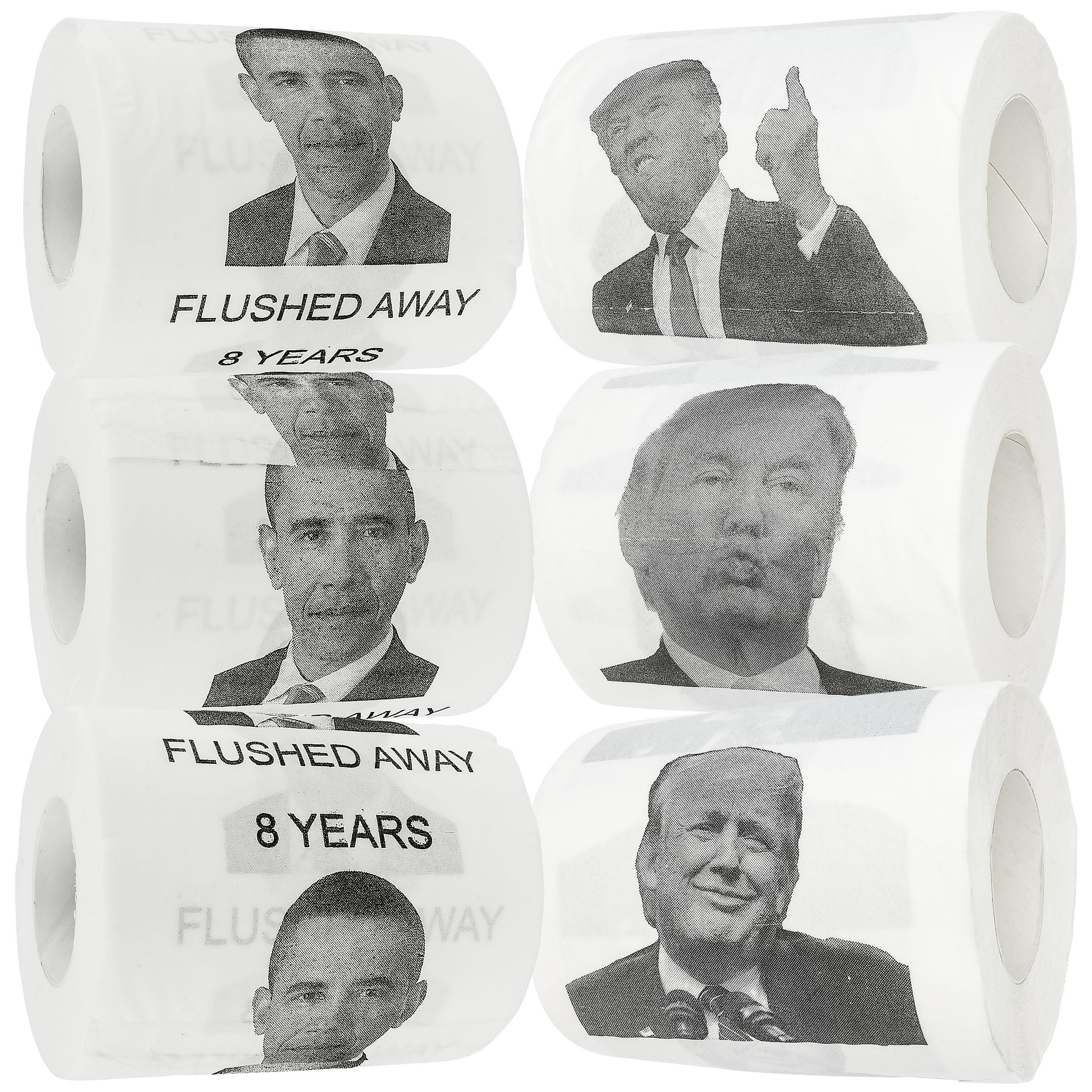 Donald Trump & Barack Obama Novelty Funny Toilet Paper Gag Gift, Set of 6 Rolls