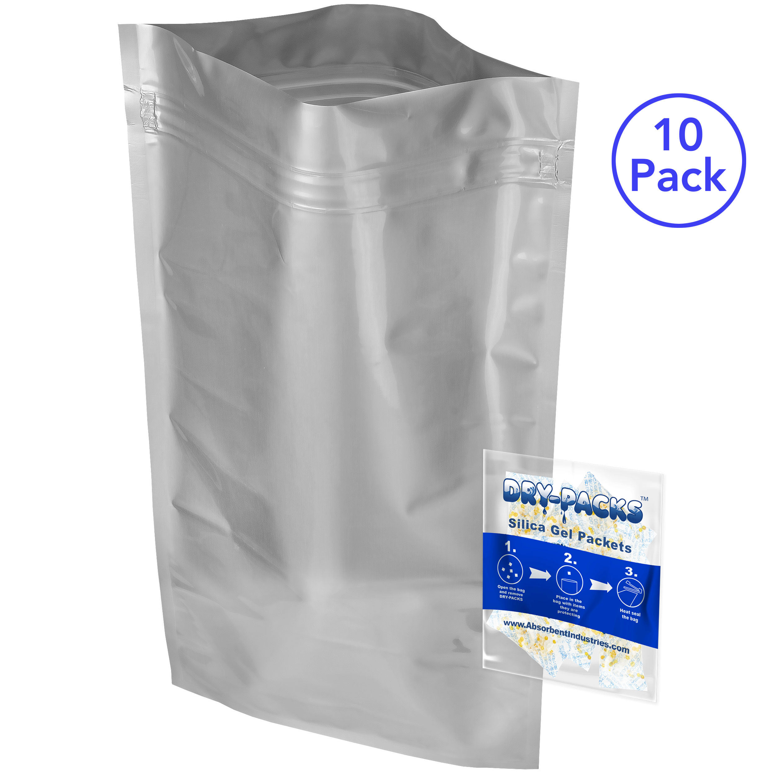 "Dry-Packs DZ20x30-10GR.INDICATING-10PK 20x30"" Aluminized Moisture Barrier & Static Shielding Zipper Bags with 10 Gram Silica Gel Packets, Set of 10, One Size, Silver"