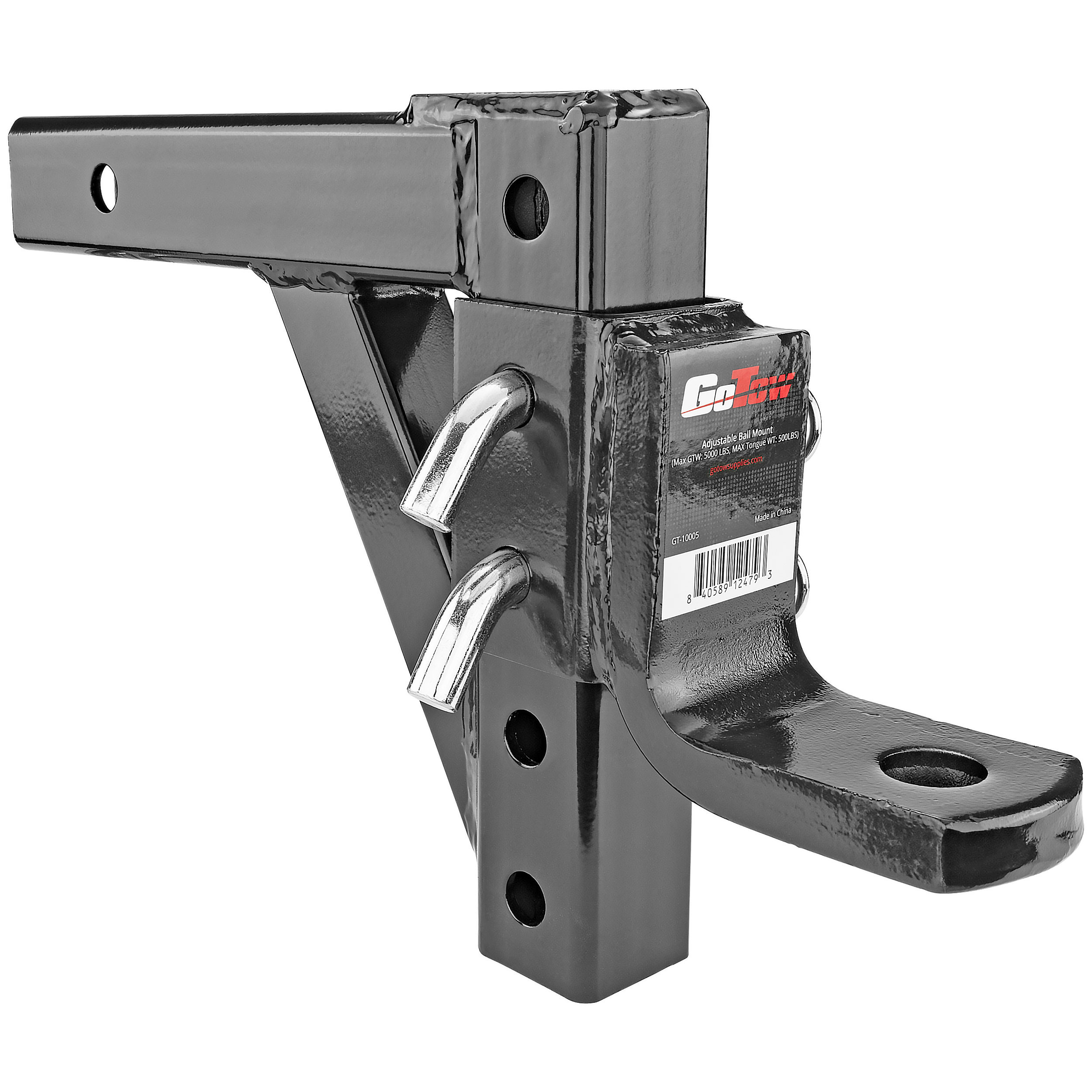 "GoTow GT-10005 Black 10"" Adjustable Ball Mount Hitch, 8 Positions-Fits 2"" Receiver, 5000lb GTW"