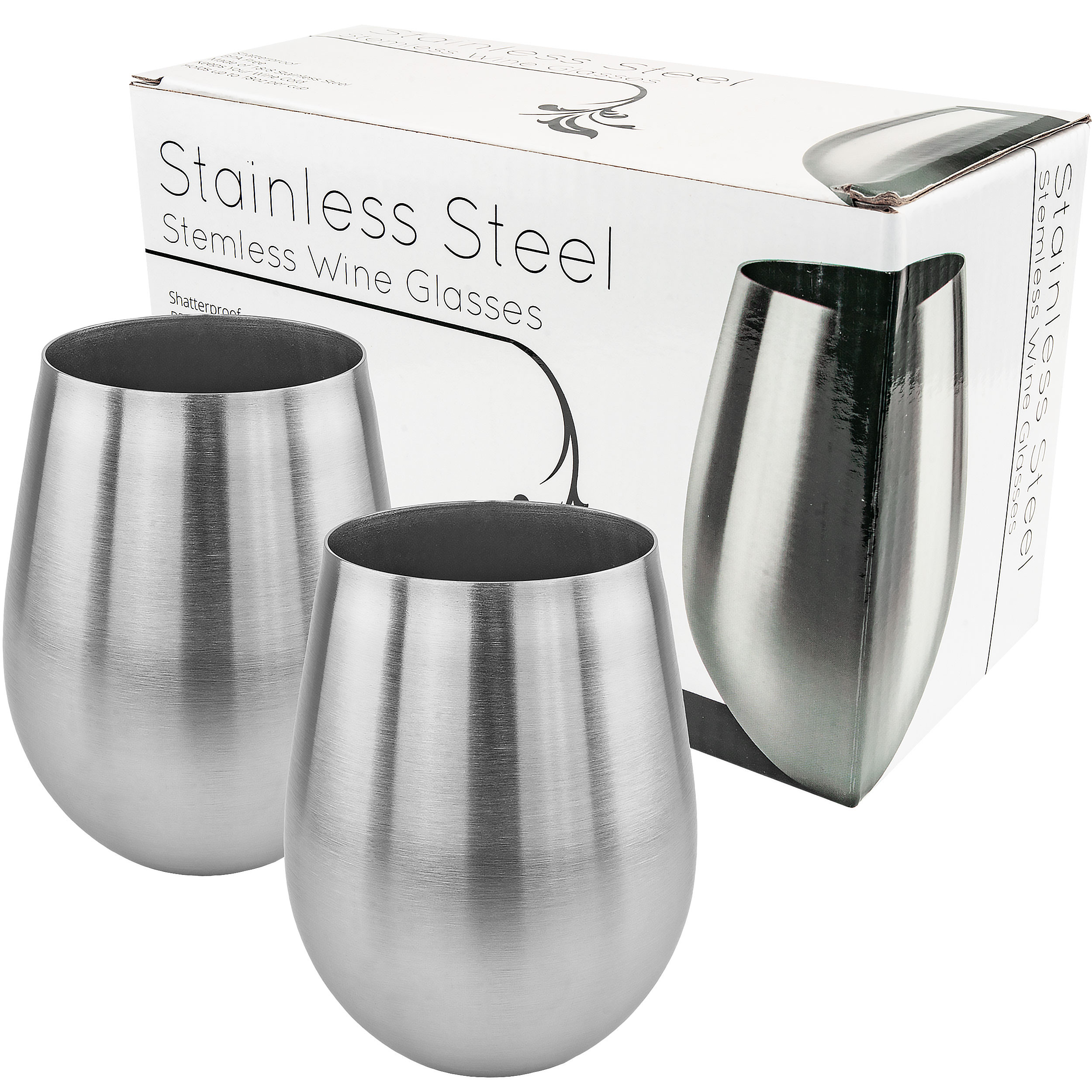 Stainless Stemless Wine Glass, Set of 2