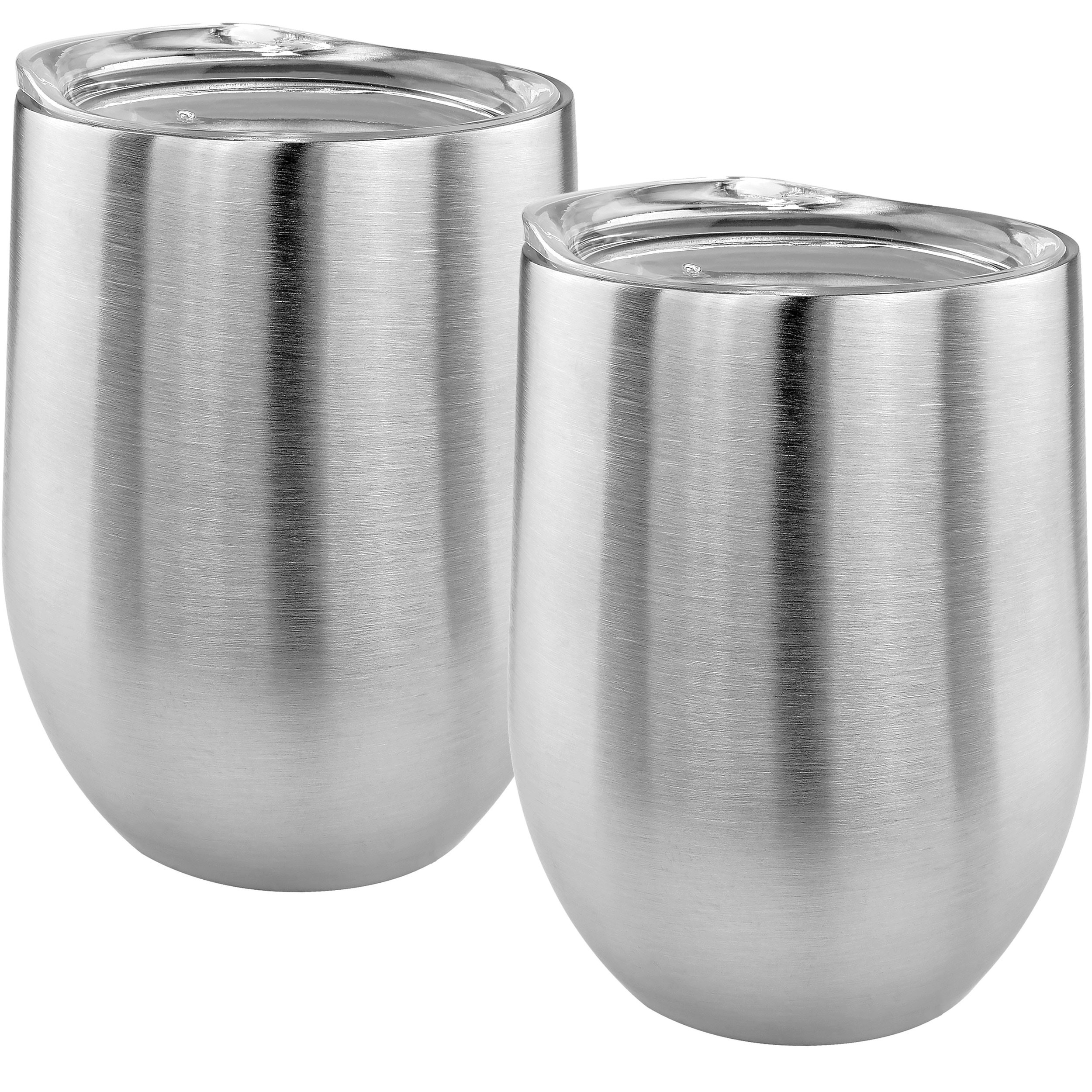 Stainless Stemless Double Wall Wine Glass, Set of 2