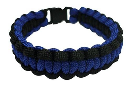 Paracord Survival Bracelet, 8-Inch, Blue and Black