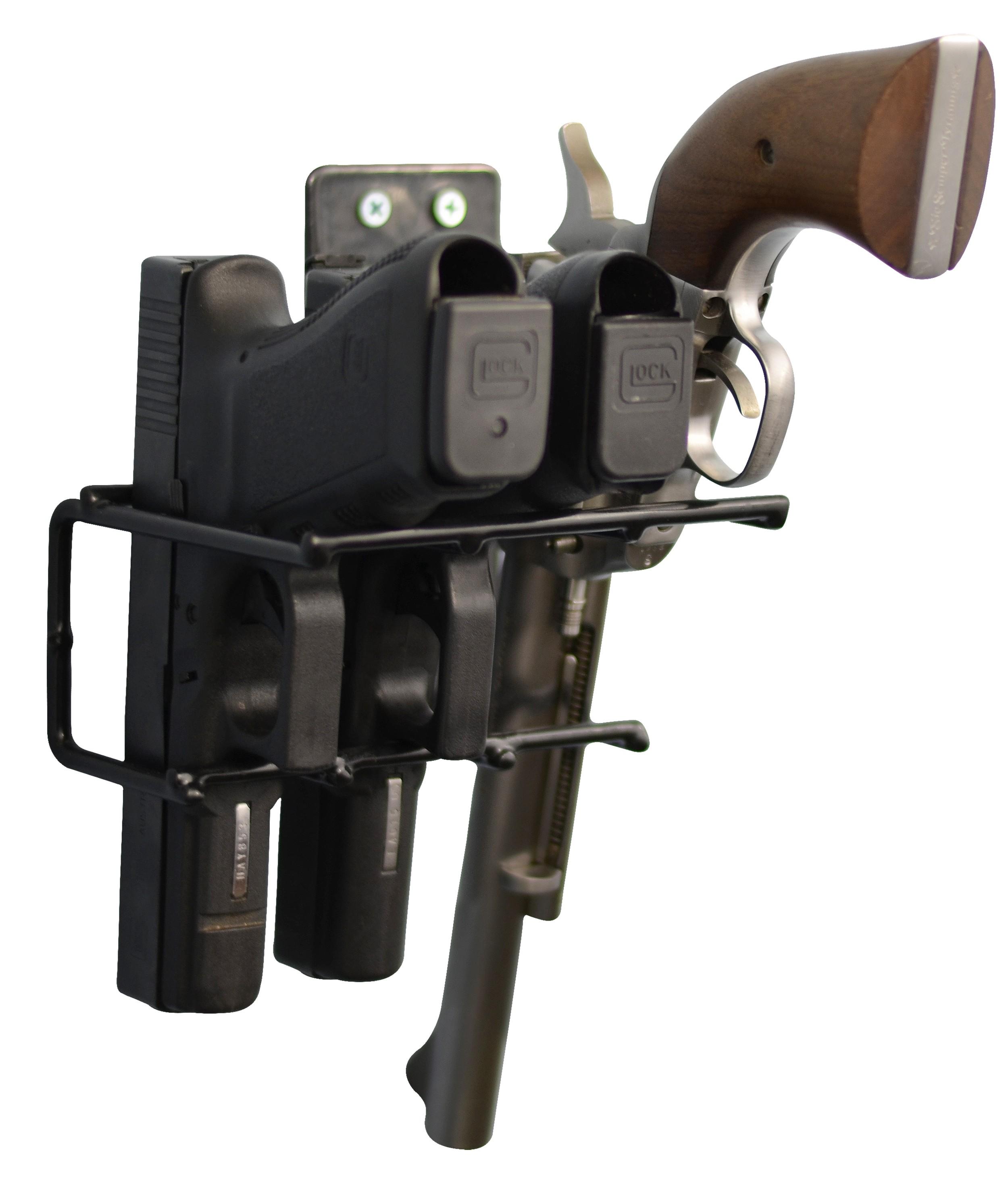 Handgun Wall Mount Rack 3 Gun Model, Black