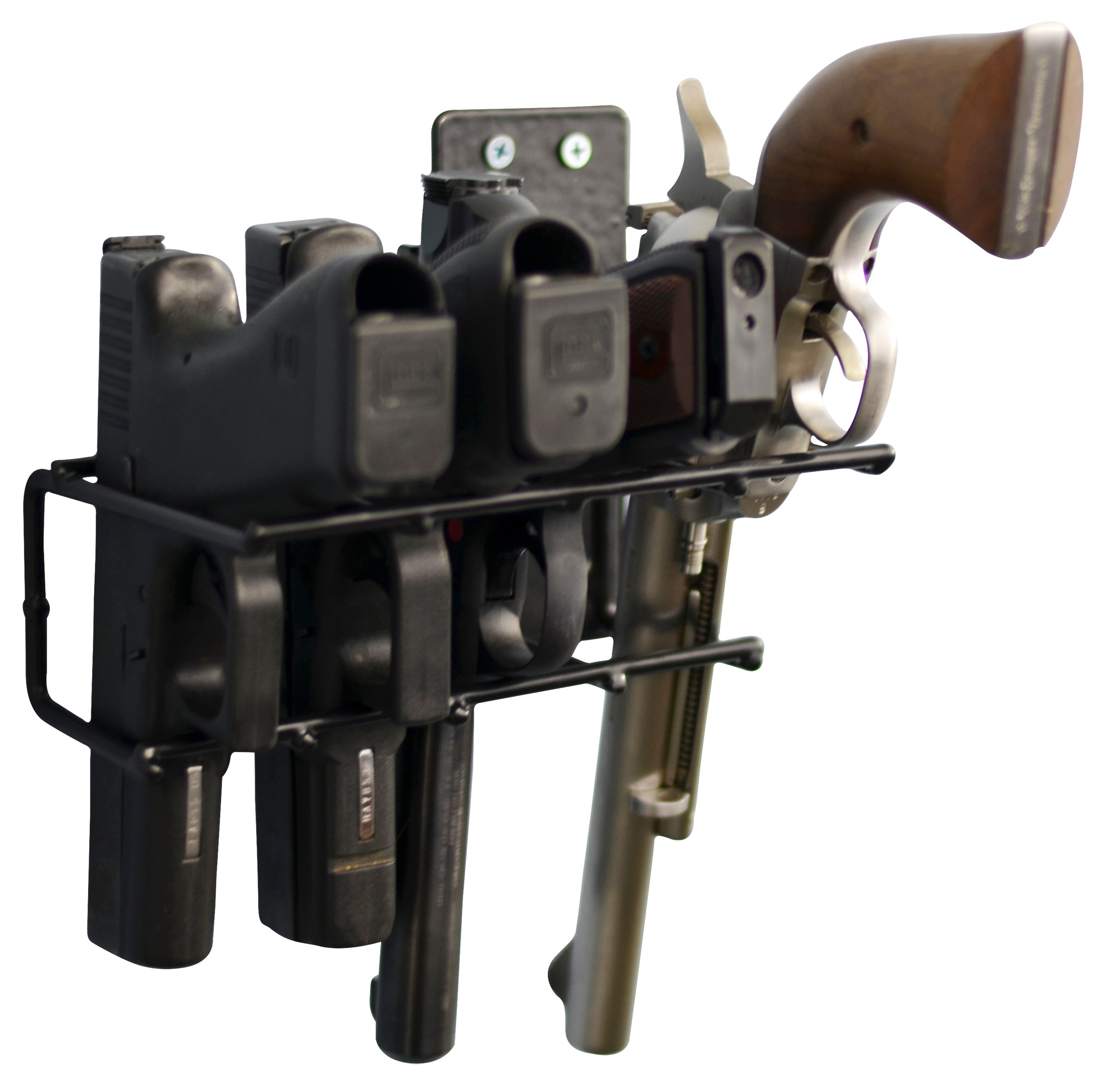 Handgun Wall Mount Rack 4 Gun Model, Black