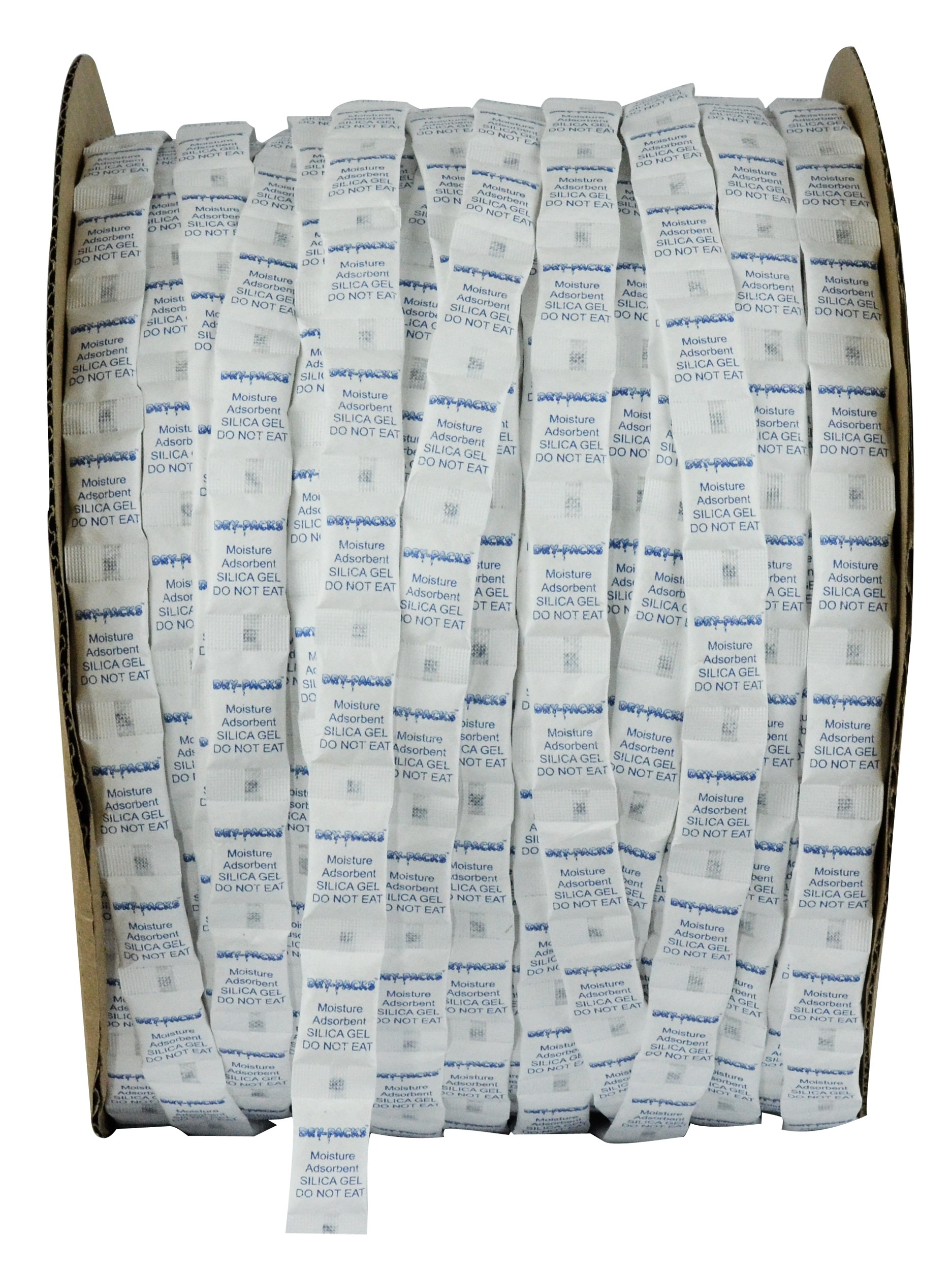 1/2 Gram Continuous Strip Pillow Packets Silica Gel - Cotton - Roll of 3000