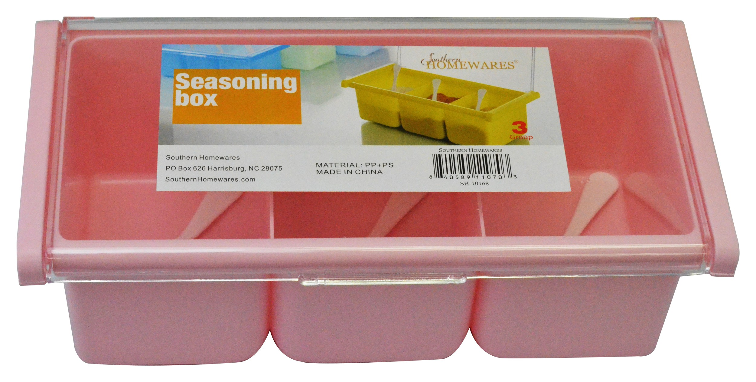 Seasoning Box 3 Compartment Acrylic, Pink