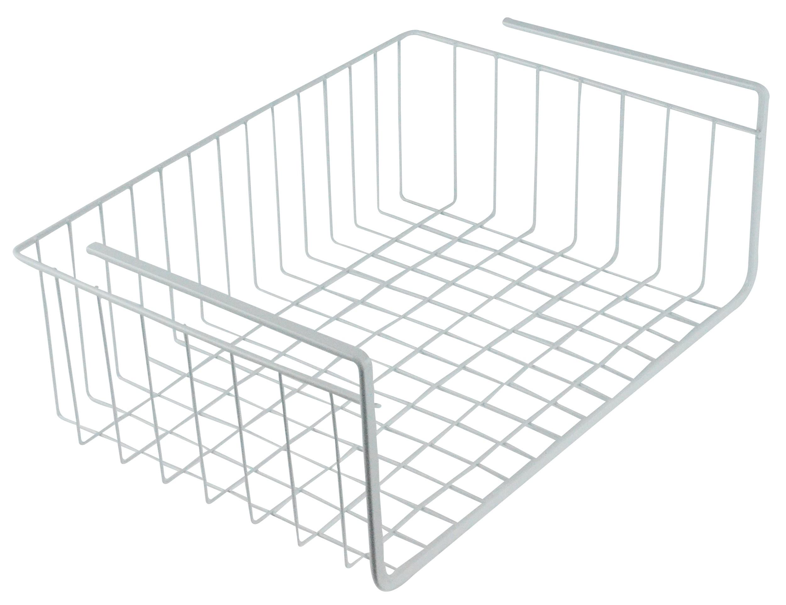 """White Wire Under Shelf Storage Organization Basket, 15"""""""