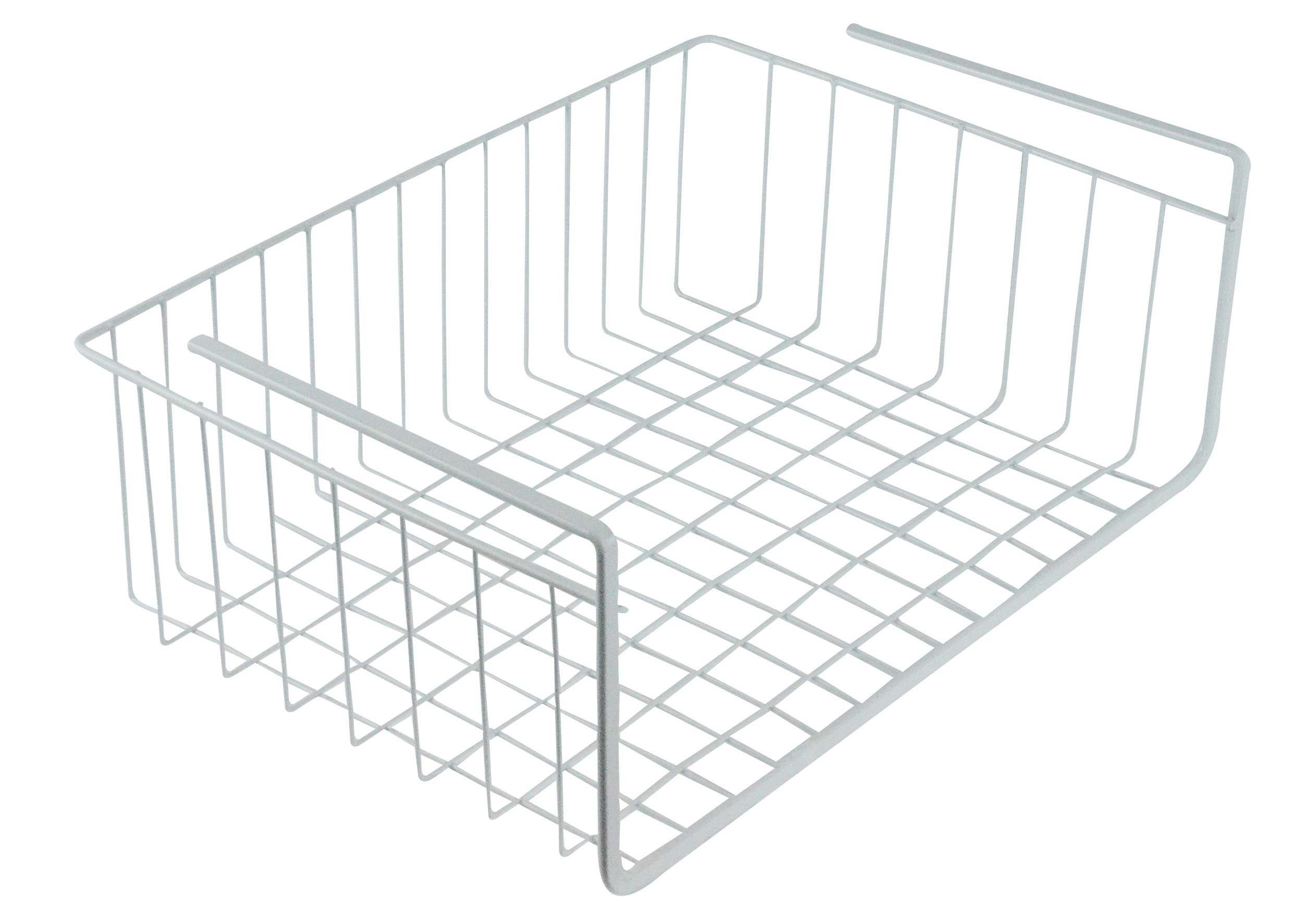 White Wire Under Shelf Storage Organization Basket, 17""