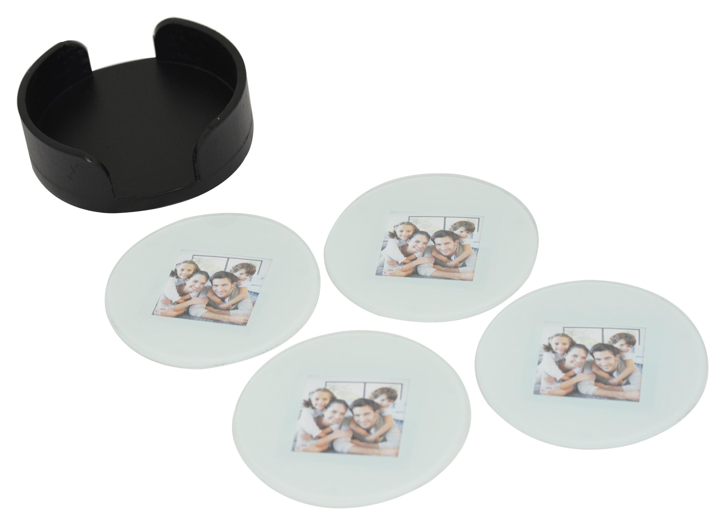 Set of 4 Glass Photo Frame Coasters W/ Wood Storage Rack