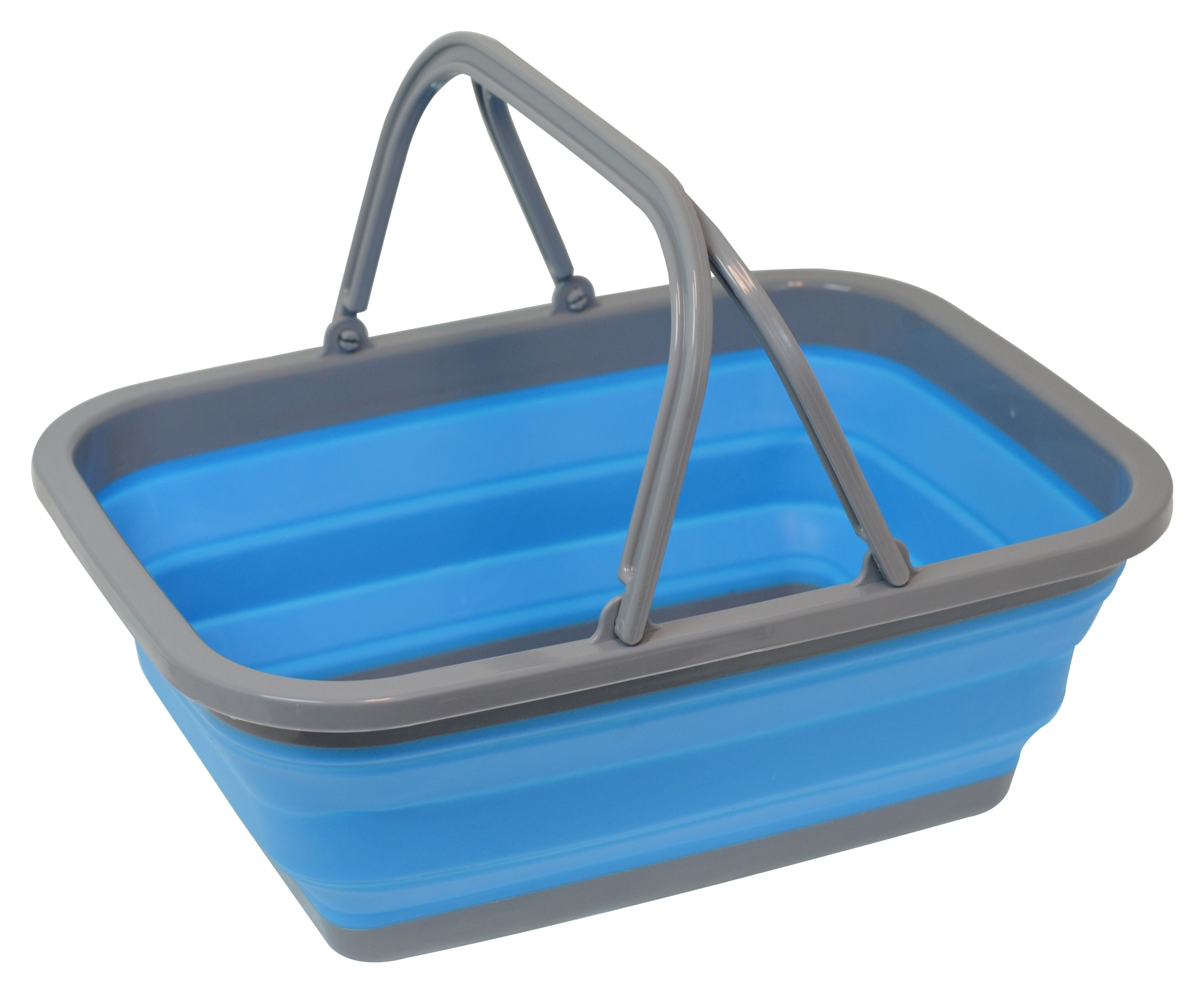 Collapsible Basket W/ Handle, Blue