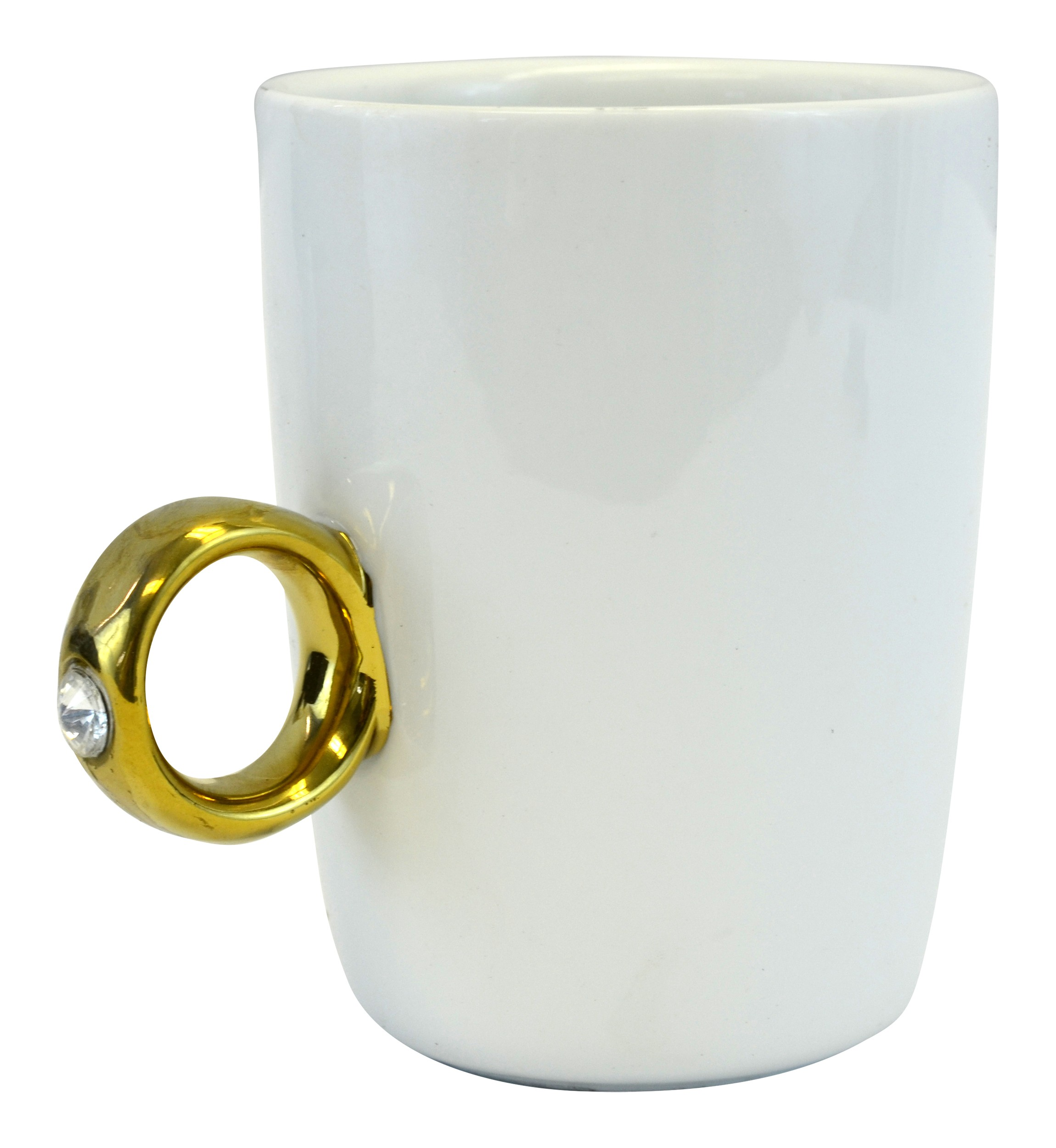 Novelty Engagement 2 Carat Solitaire Ring Mug Cup, Gold