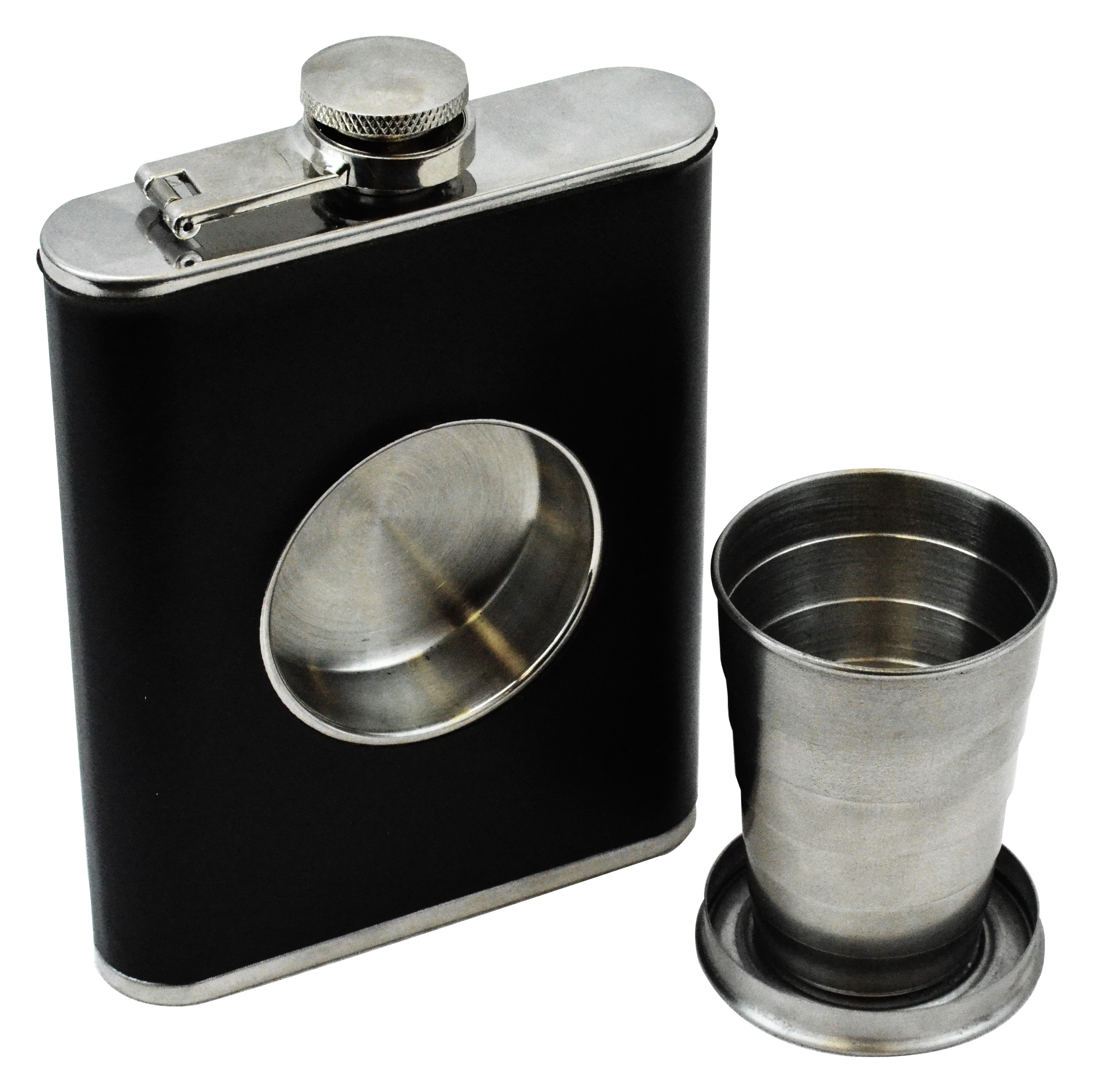 Shot Flask - 8oz Hip Flask With Built In Collapsible Shot Glass