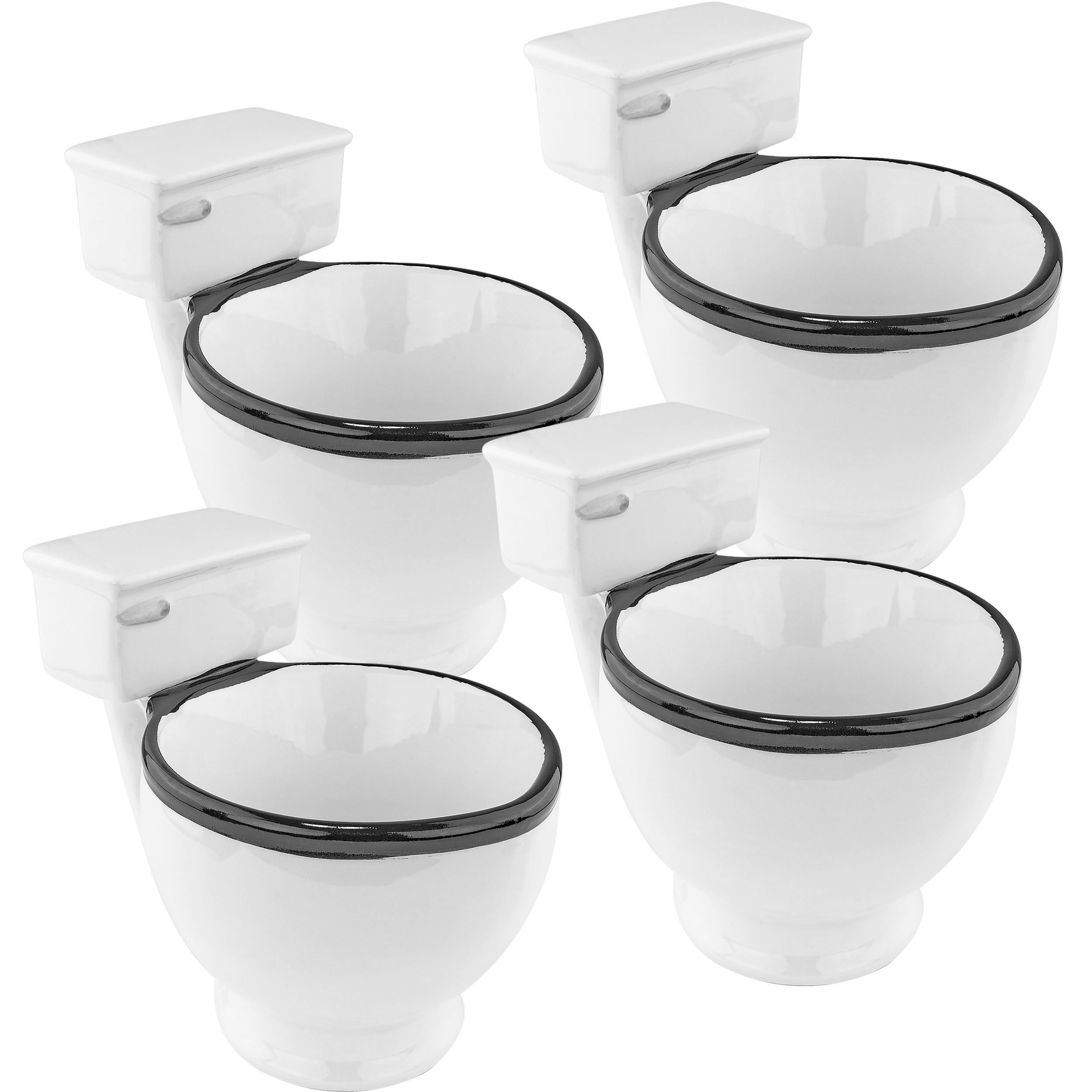 Ceramic Toilet Coffee Mug, 4 Pack