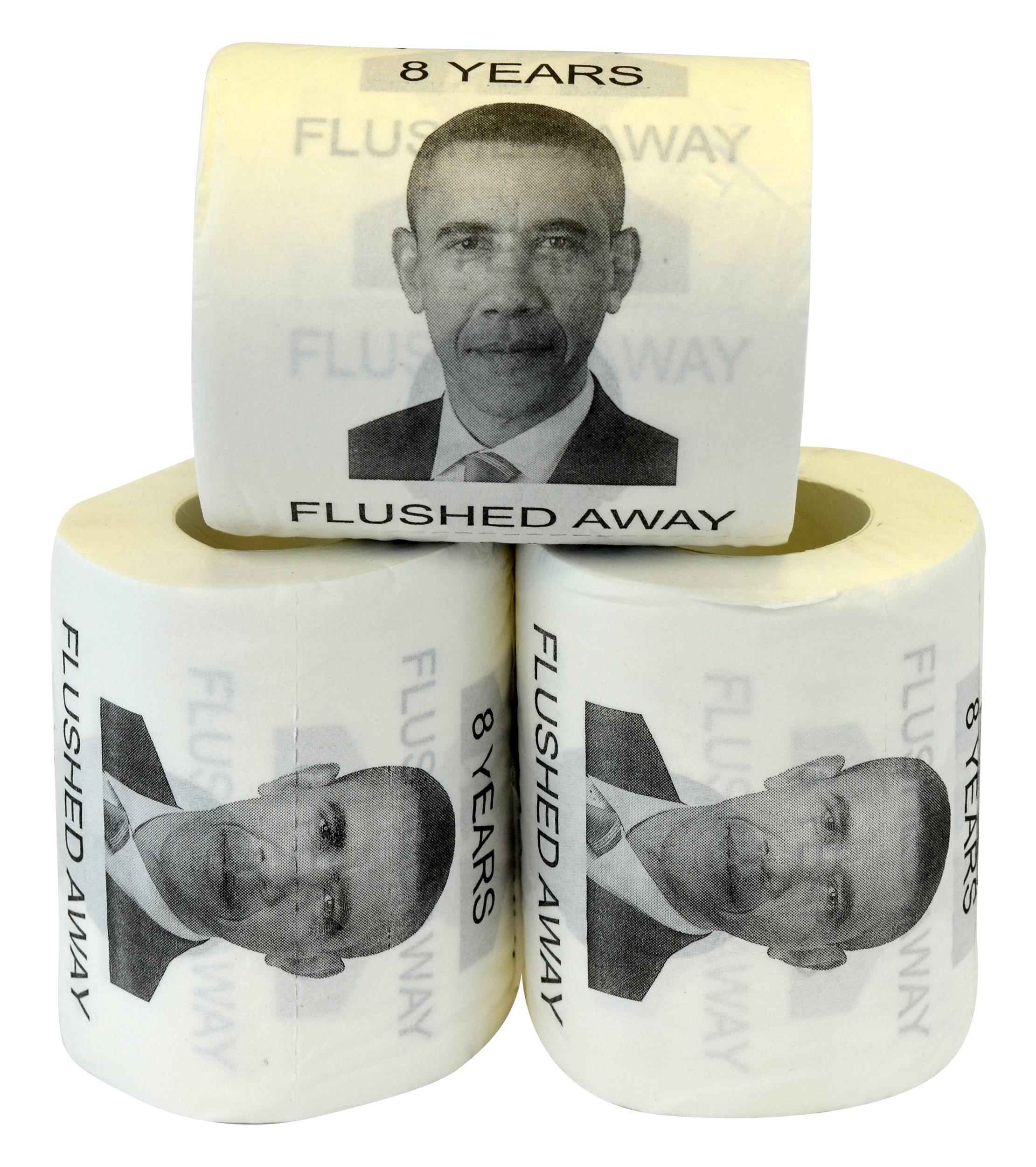 Barack Obama 8 Years Flushed Away Novelty Toilet Paper, 3-Pack