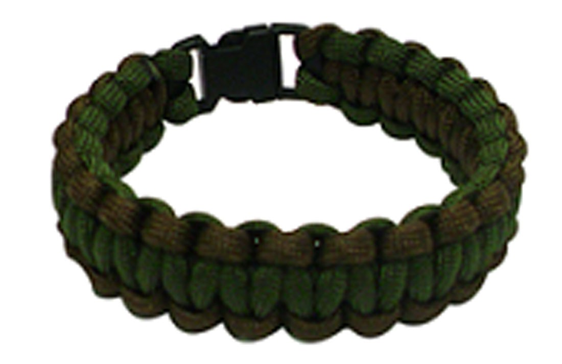 Paracord Survival Bracelet, 8-Inch, Green and Brown