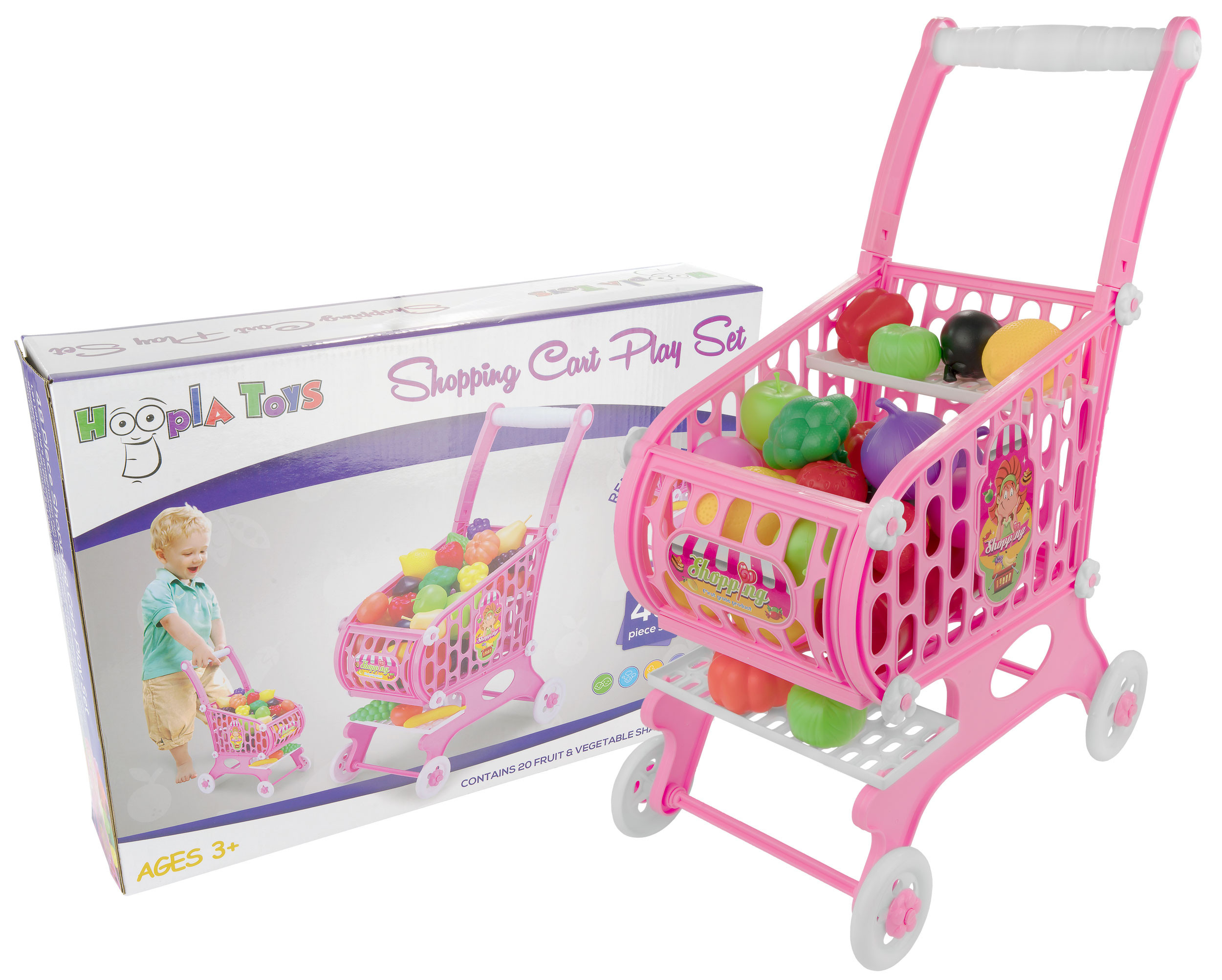 Kids Toy Shopping Cart, 48 Piece Set
