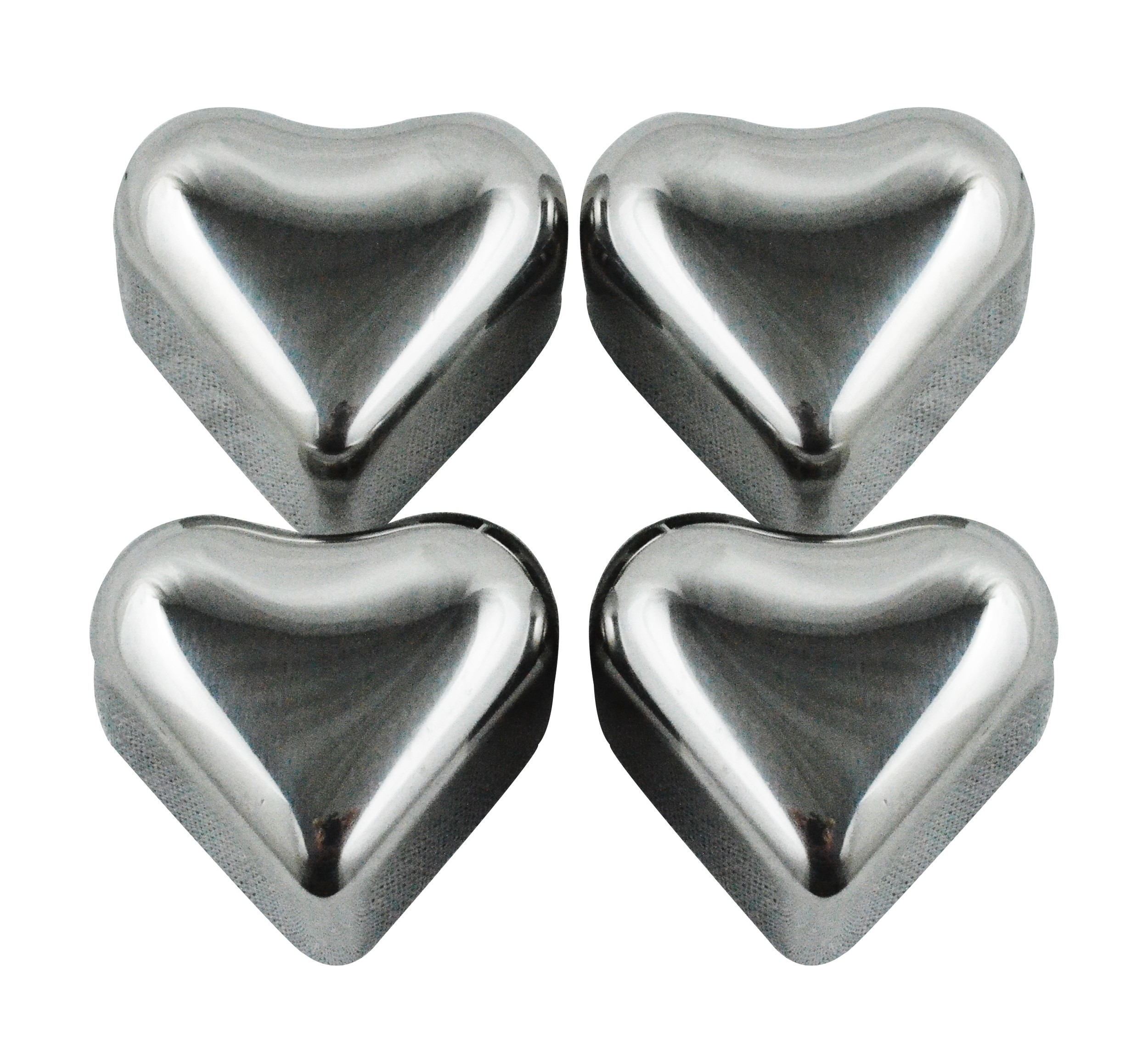 Heart Shape Stainless Steel Chilling Ice Cubes, Set of 4