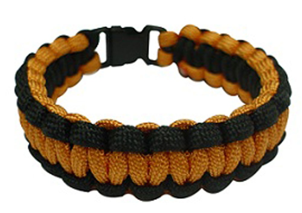 Paracord Survival Bracelet, 8-Inch, Orange and Black