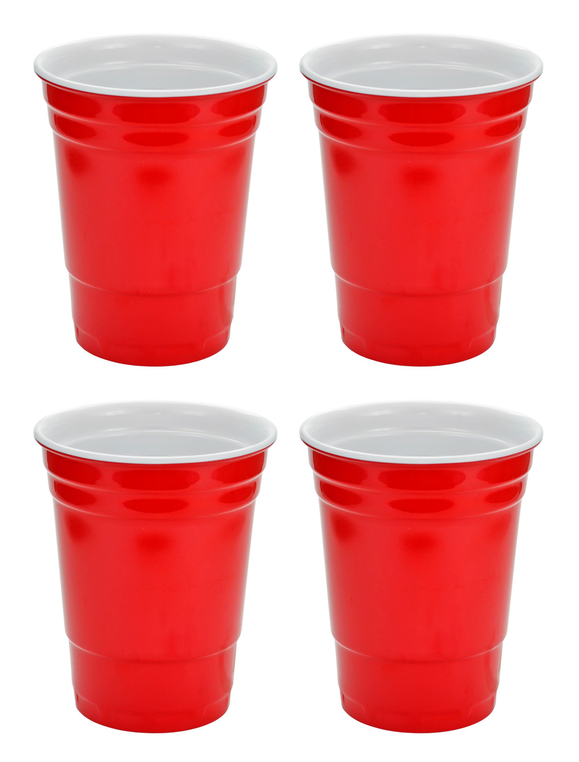 Red Hard Plastic Cup 16oz - 4 Pack