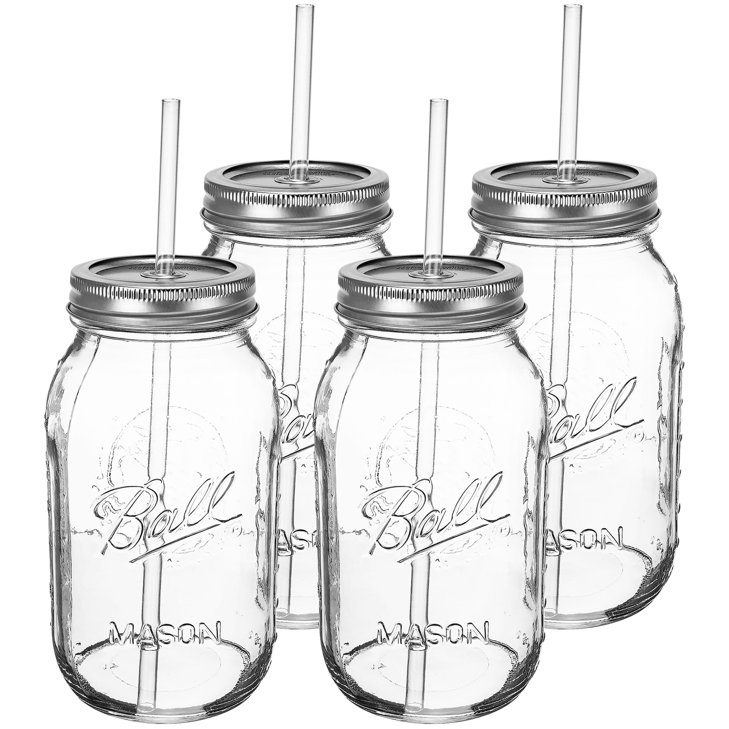 Redneck Guzzler Drinking Sipping Jar 32oz Ball Mason Jar w/ Acrylic Straw 4 Pack