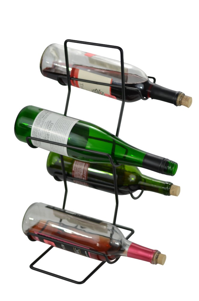 4 Bottle Wine Rack / Tree, Black Iron Main