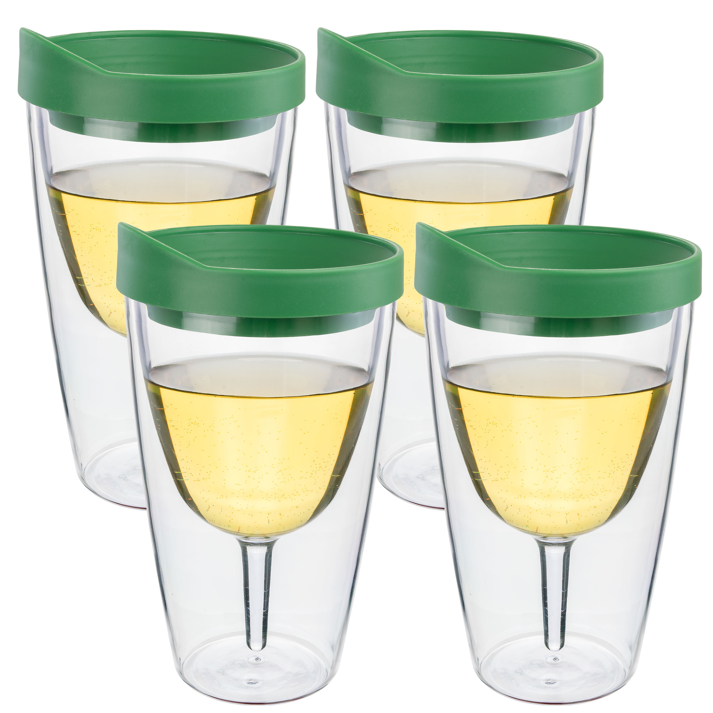 Verde Green Insulated Wine Tumbler - Double Wall Acrylic 4 Pack