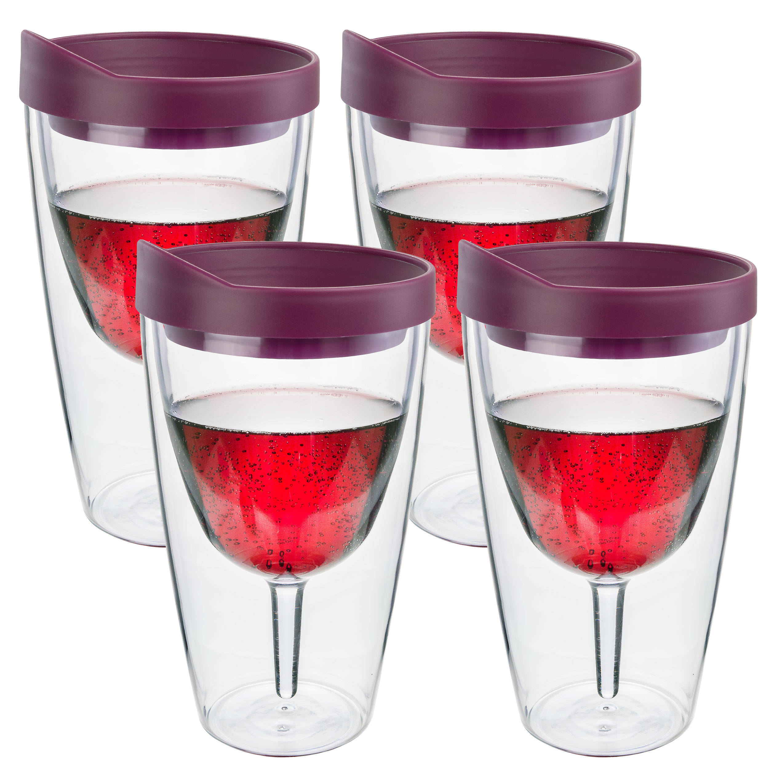 Merlot Insulated Wine Tumbler - Double Wall Acrylic 4 Pack