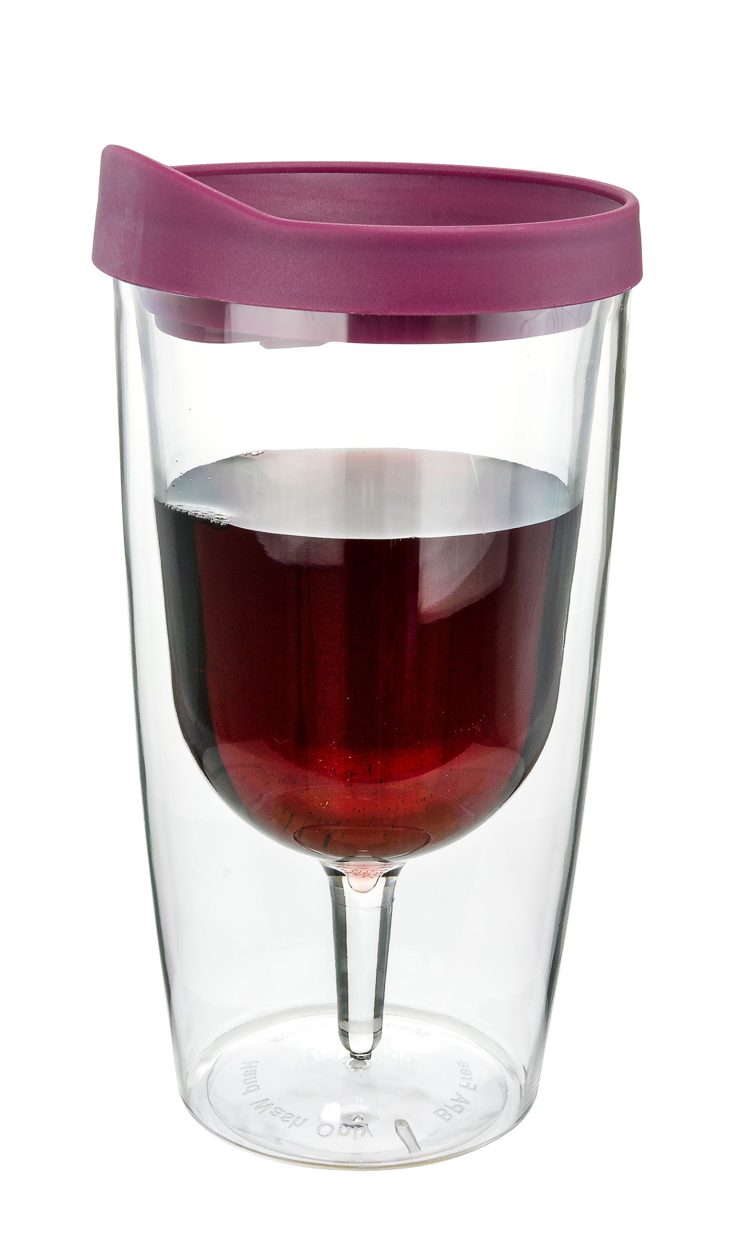 Merlot Red Insulated Wine Tumbler - Double Wall Acrylic - 10oz