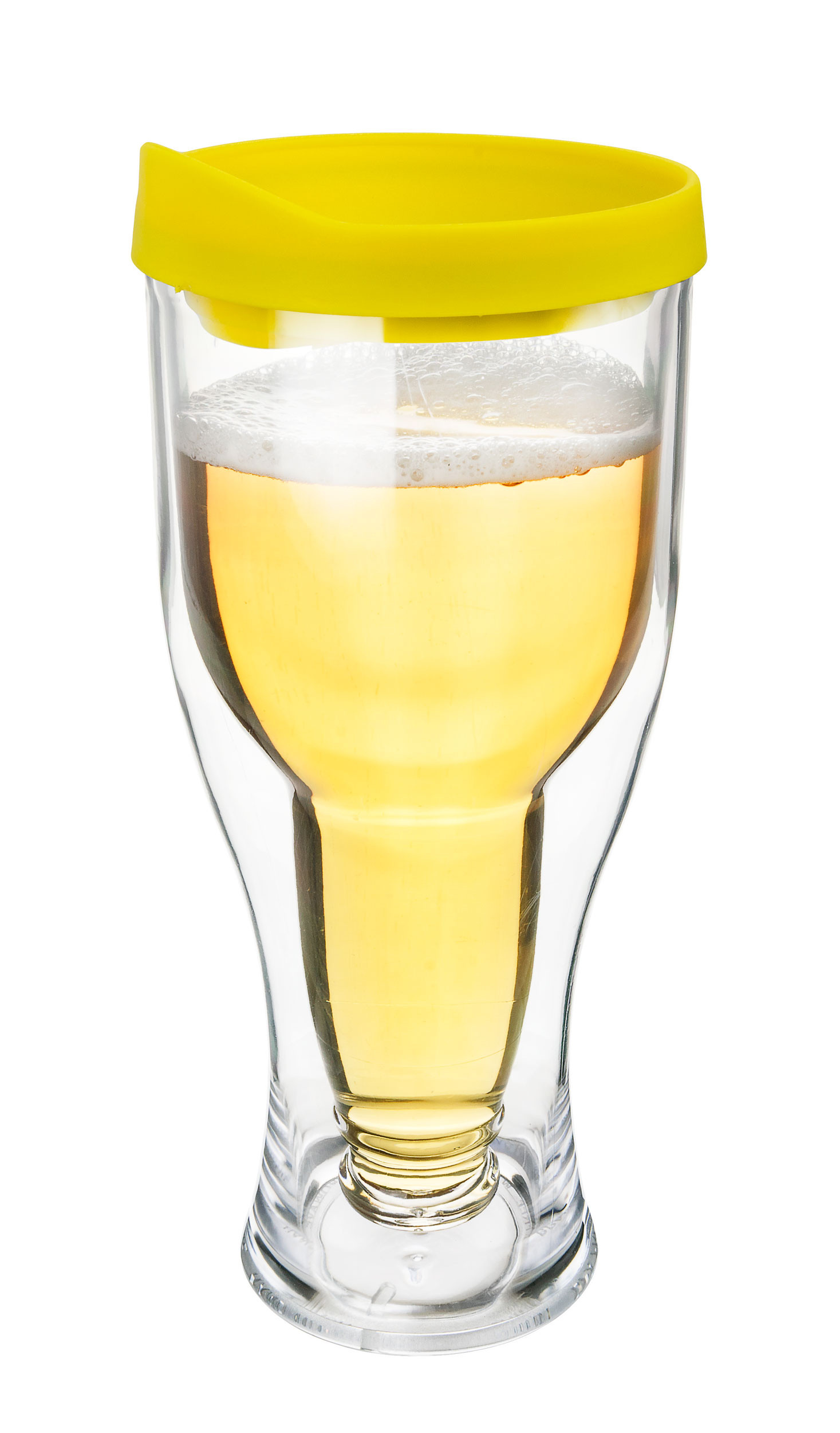 Beer Tumbler w/ Yellow / Gold Lid - Double Wall Acrylic - 14oz
