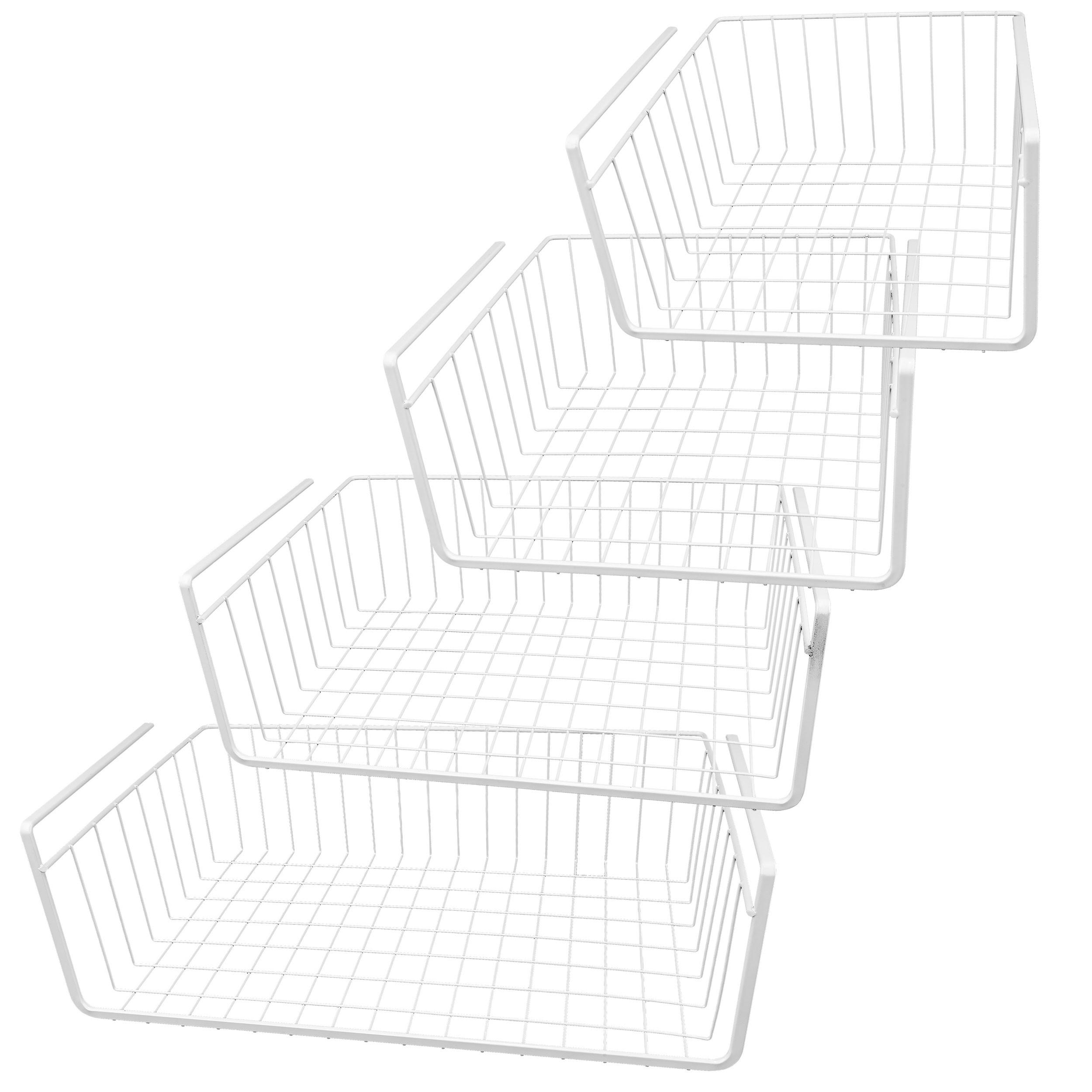 White Wire Under Shelf Storage Basket, 4-Piece Set