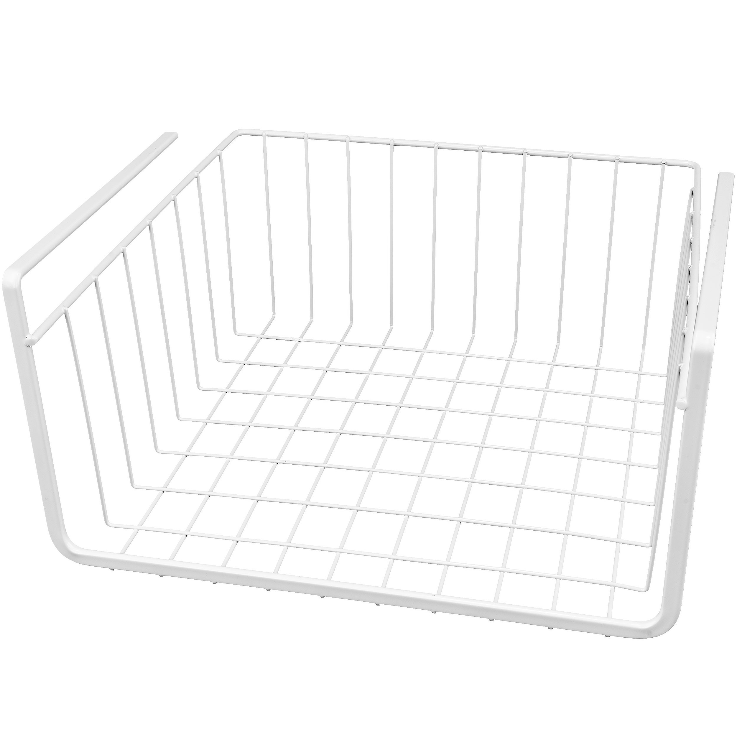 White Wire Under Shelf Storage Organization Basket, 11""