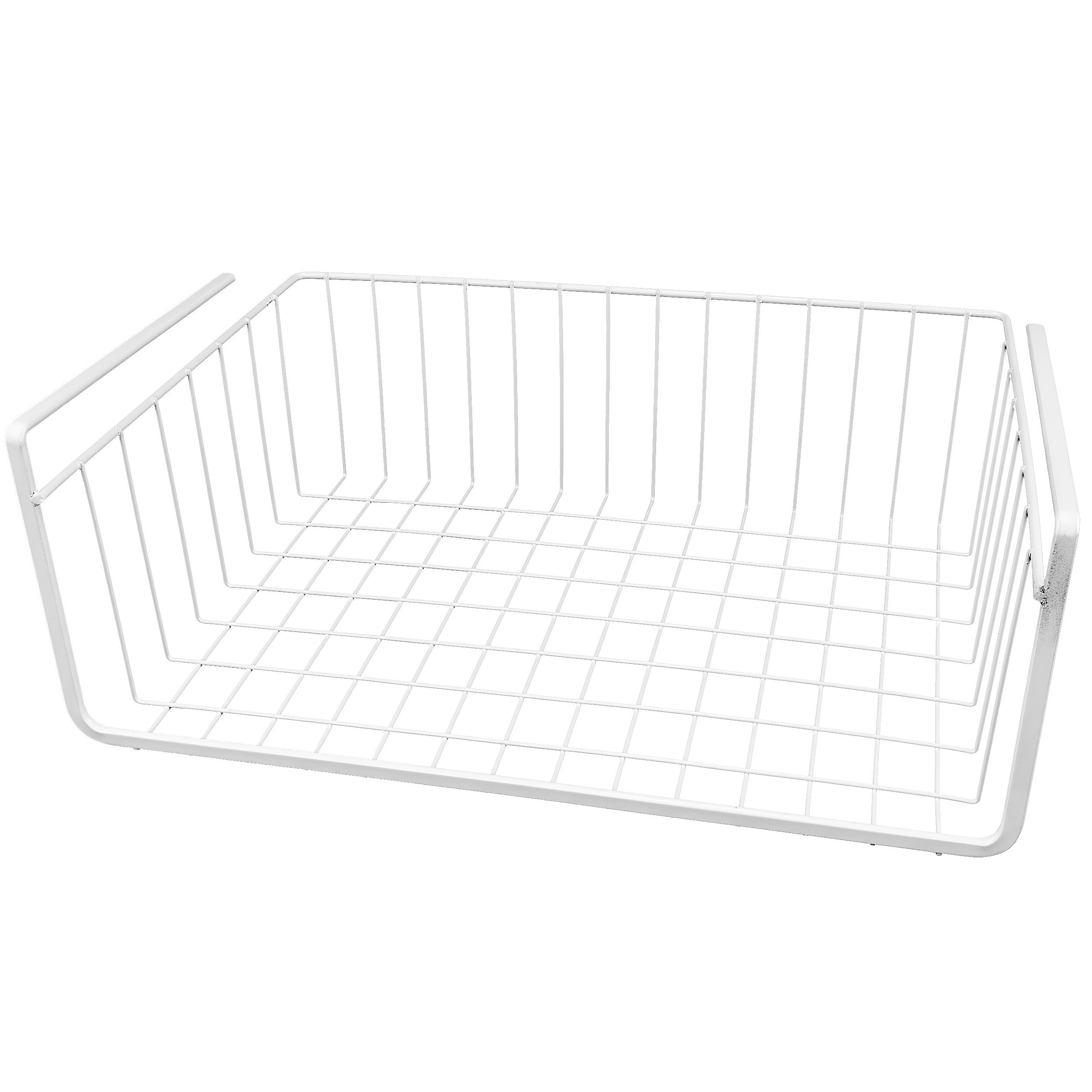 White Wire Under Shelf Storage Organization Basket, 15""