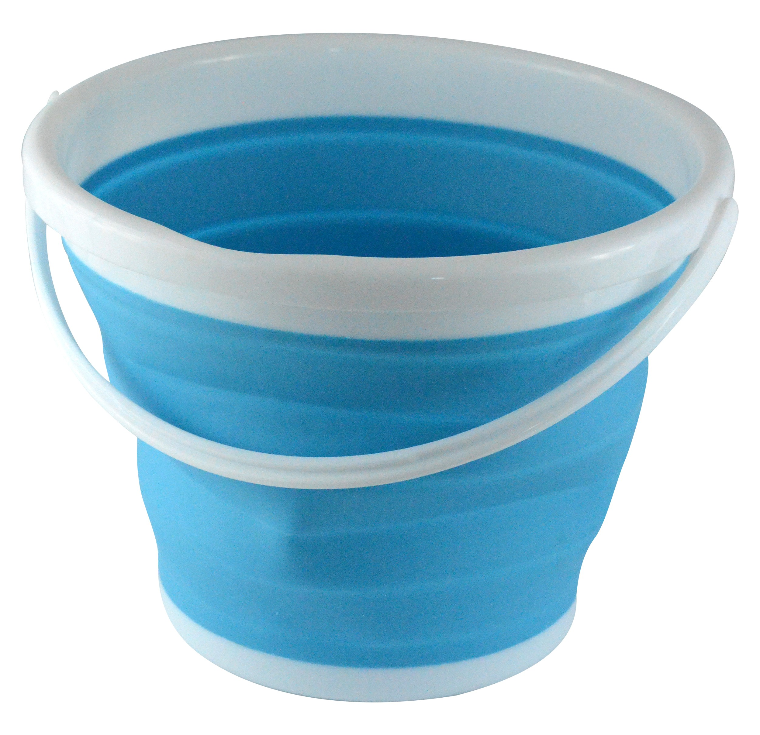 Foldable Silicone Collapsible 2.65 Gallon Bucket, Blue