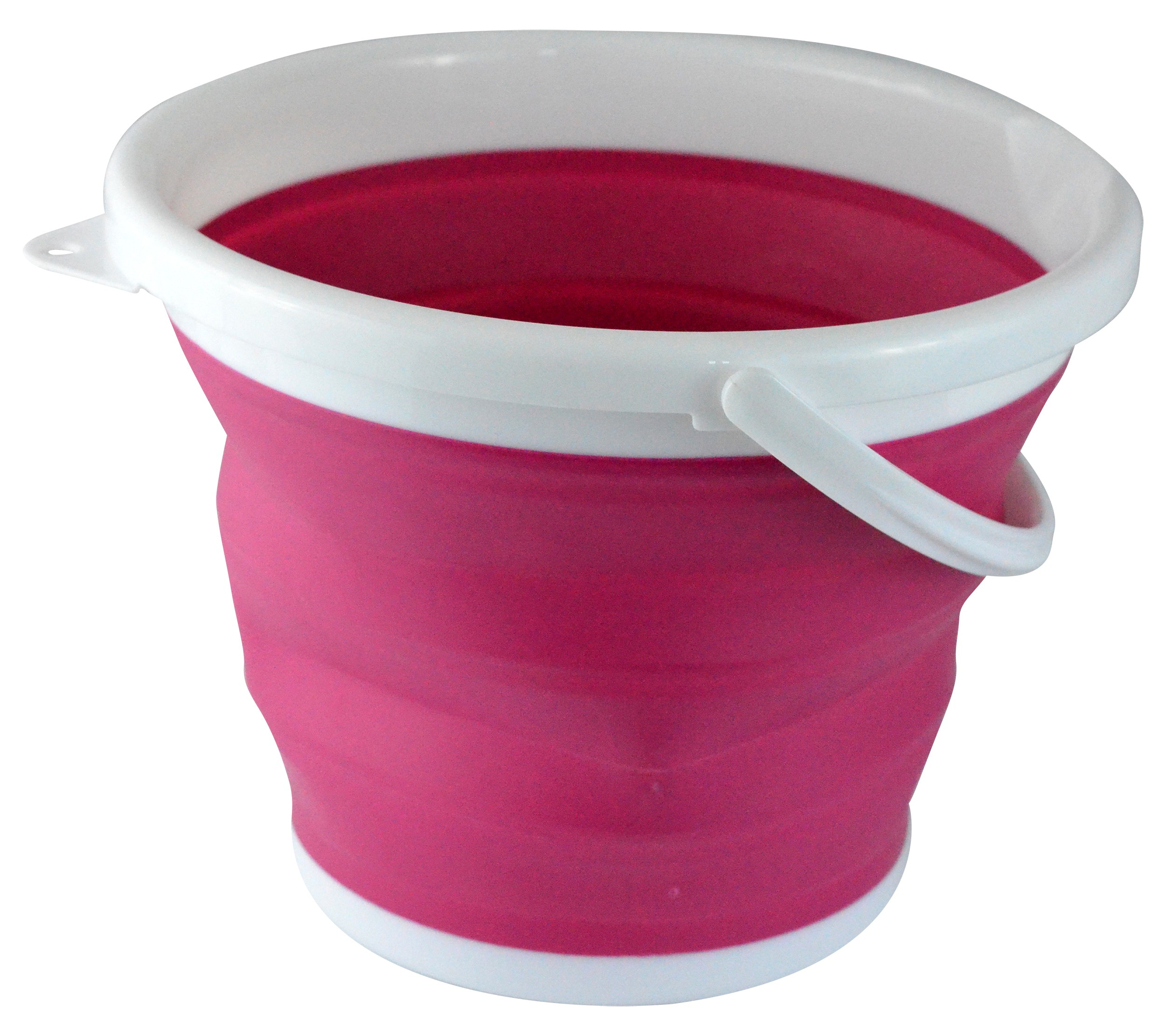 Foldable Silicone Collapsible 2.65 Gallon Bucket, Pink